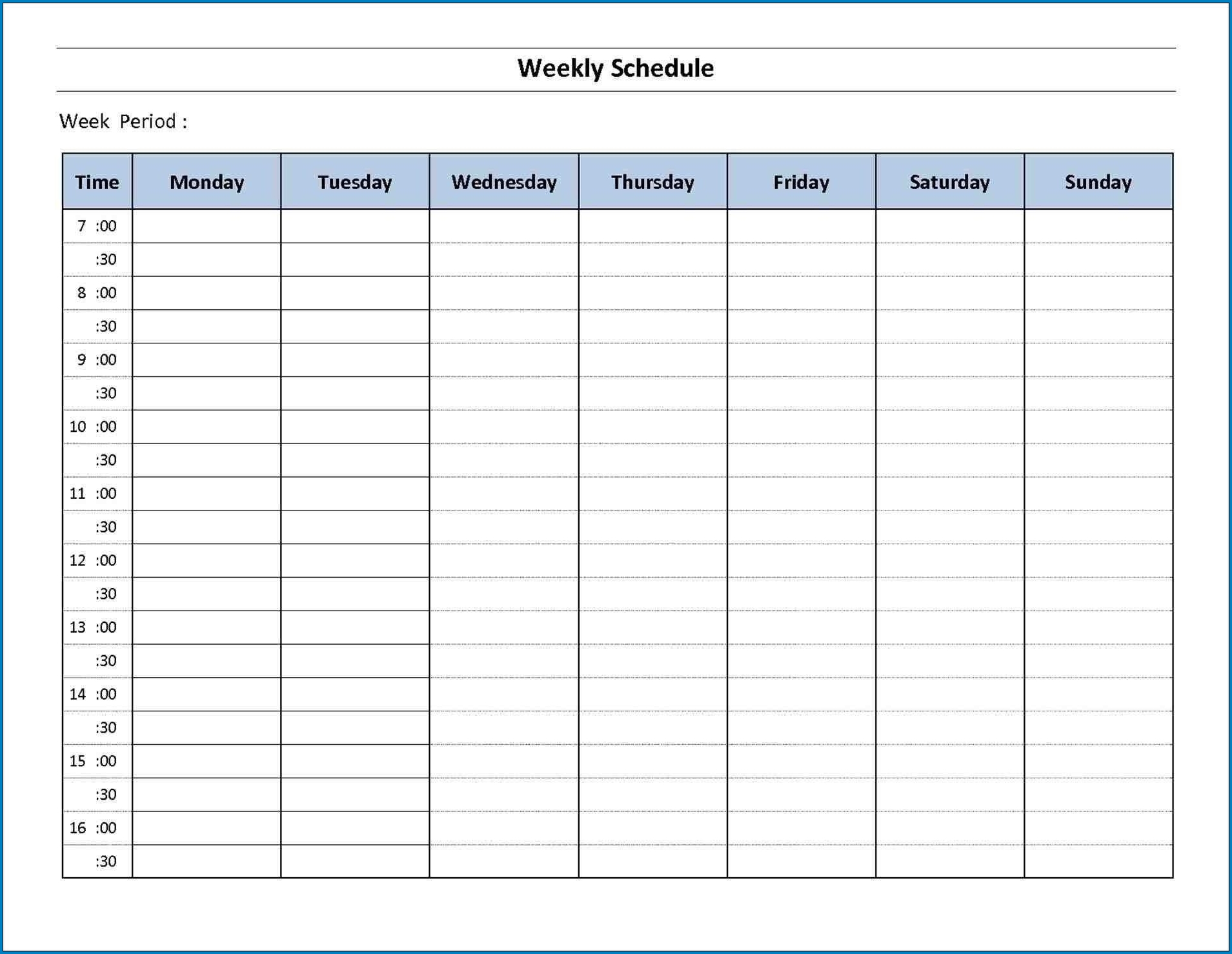 √ Free Printable 7 Day Schedule Template | Templateral 7 Day Week Calendar Template