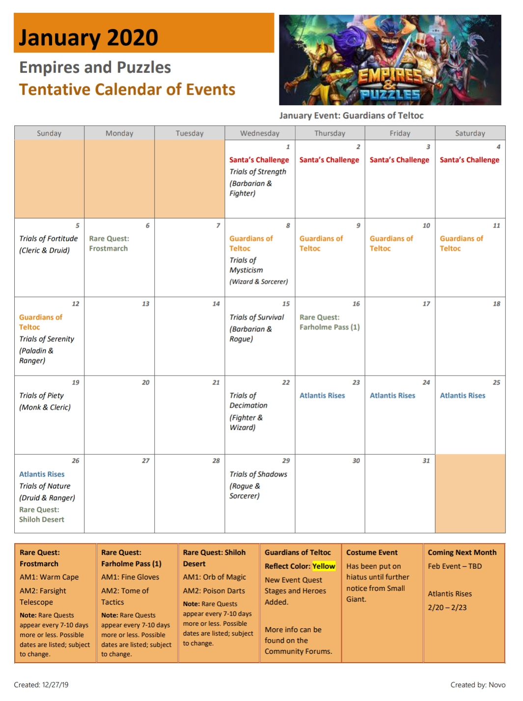 Empires And Puzzles Events 2020 | Calendar For Planning December Calendar 2021 Empire And Puzzles