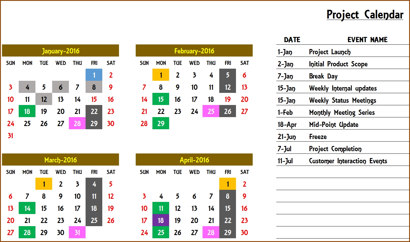Event Calendar Maker Excel Template V3 - Support Free Calendar Event Template
