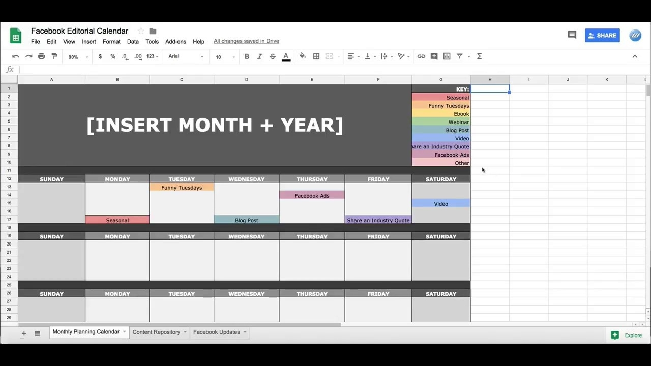 Facebook Social Media Editorial Calendar In Google Sheets Content Calendar Template Google Docs