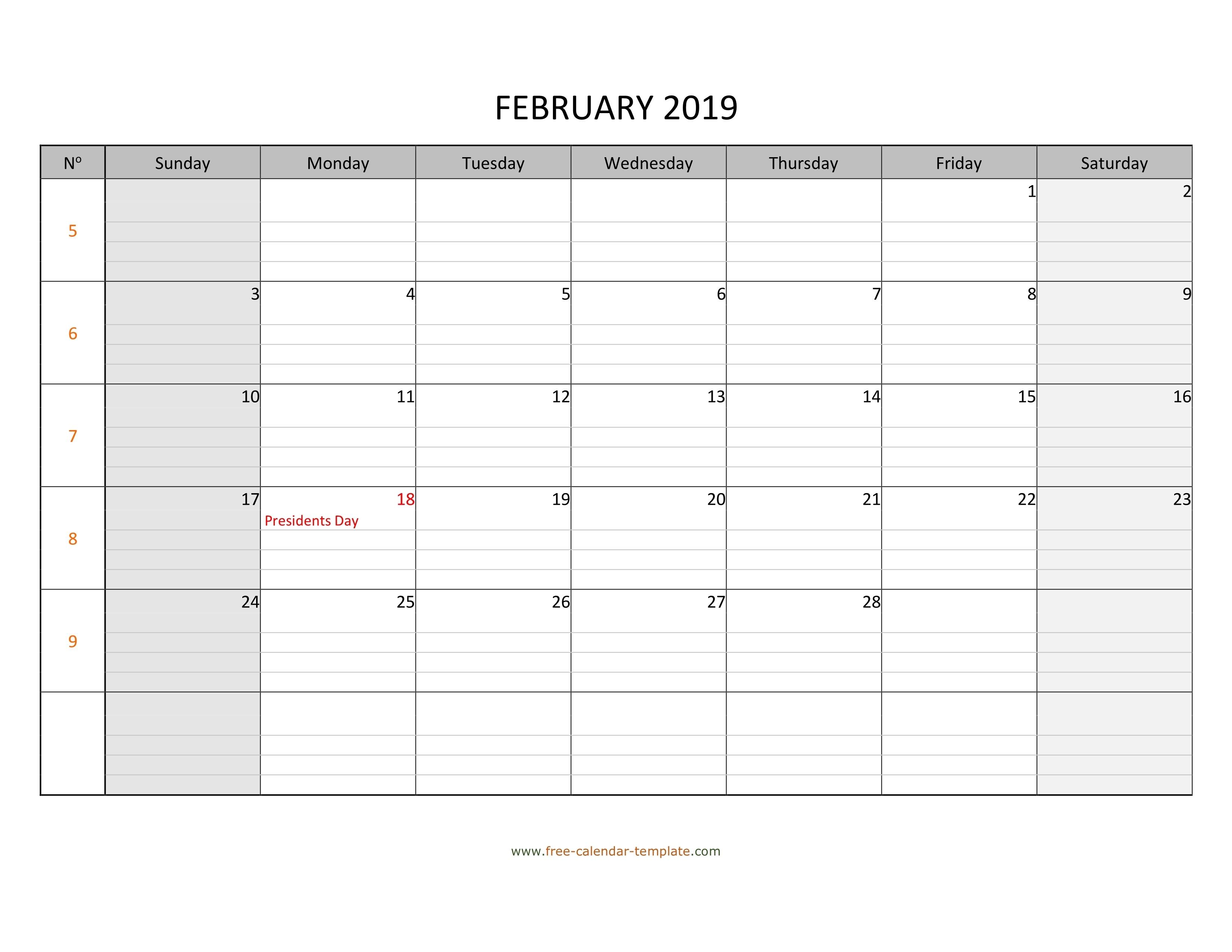 February 2019 Calendar Free Printable With Grid Lines Free Calendar Grid Template
