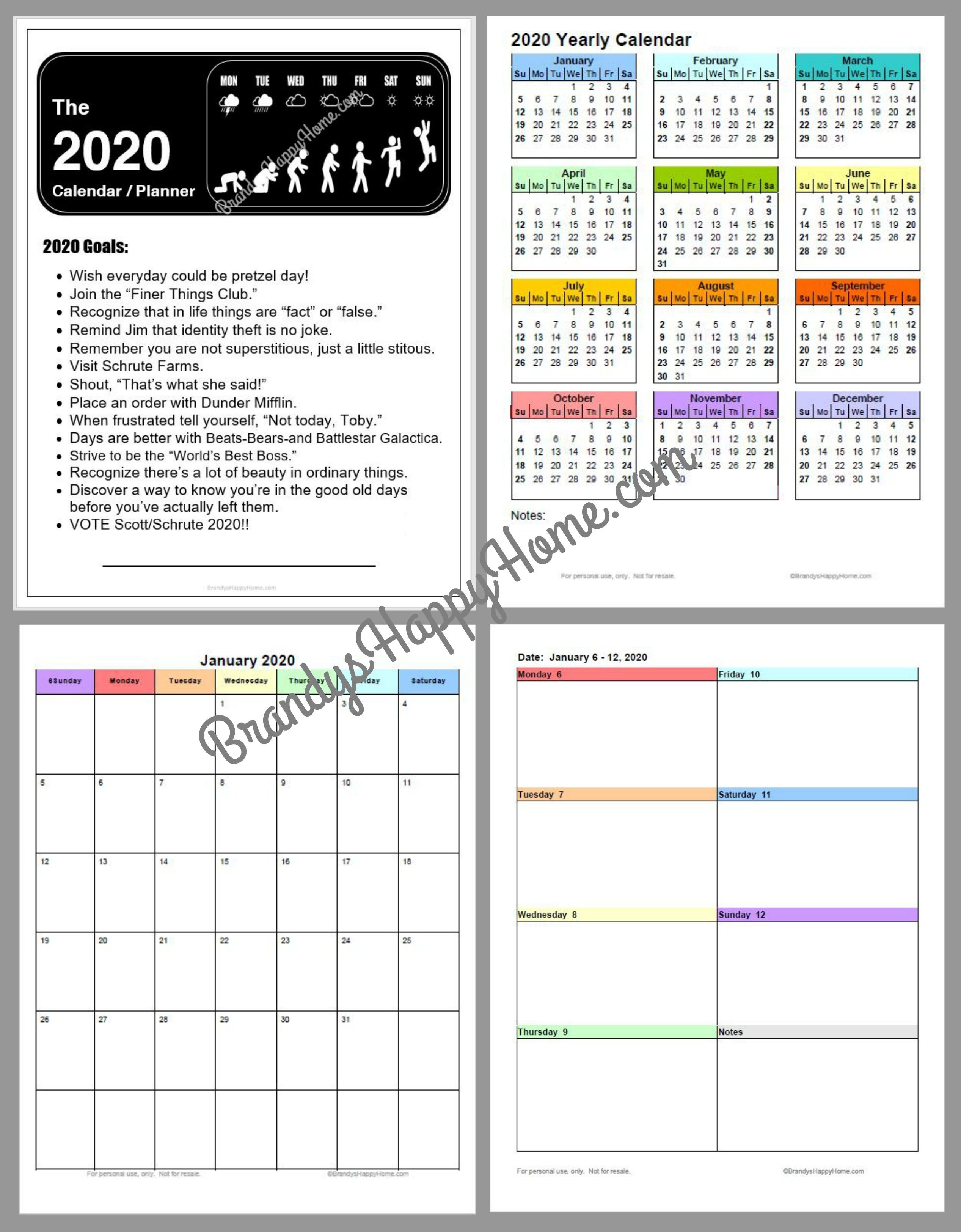 Free 2020 Diy Calendar Planner Printables 3-Ring Binder Calendar Template