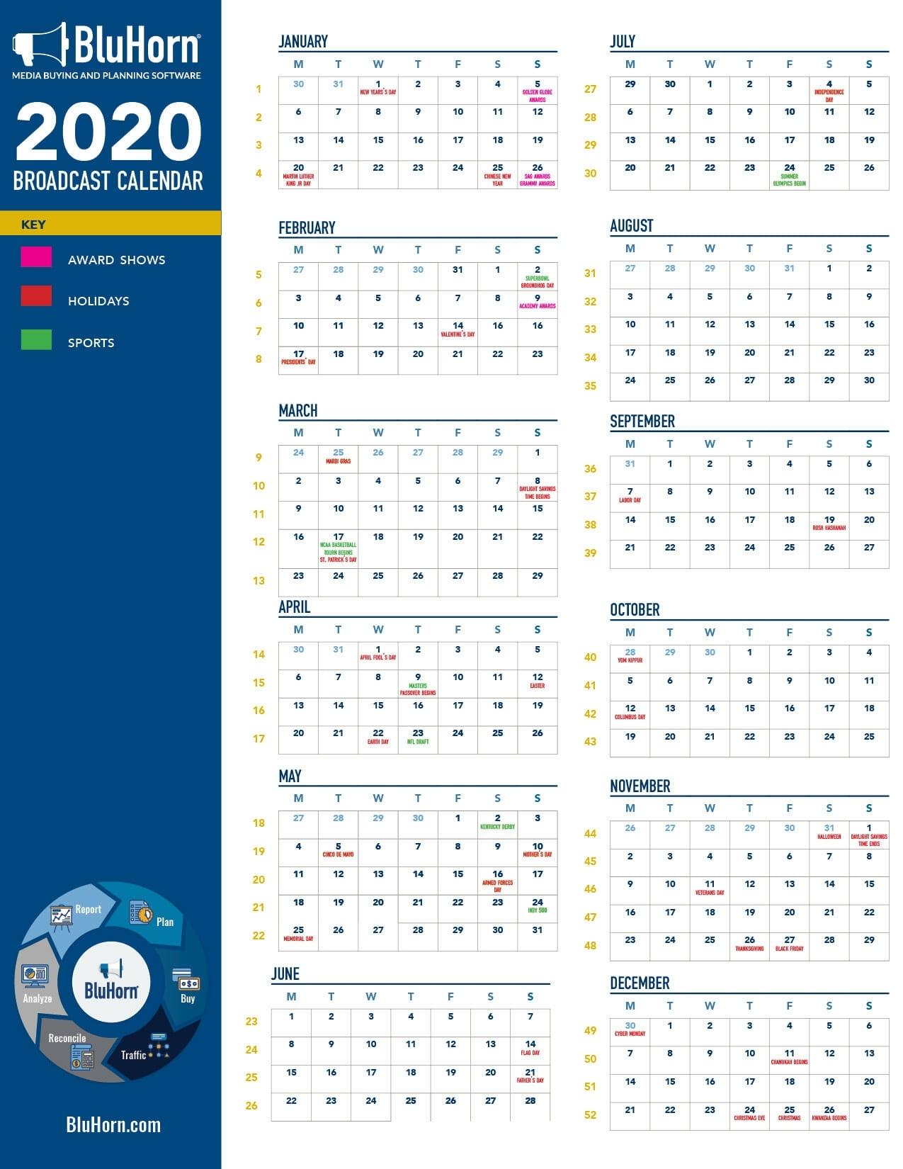 Free Broadcast Calendar   Bluhorn Print 2021 Broadcast Calendar
