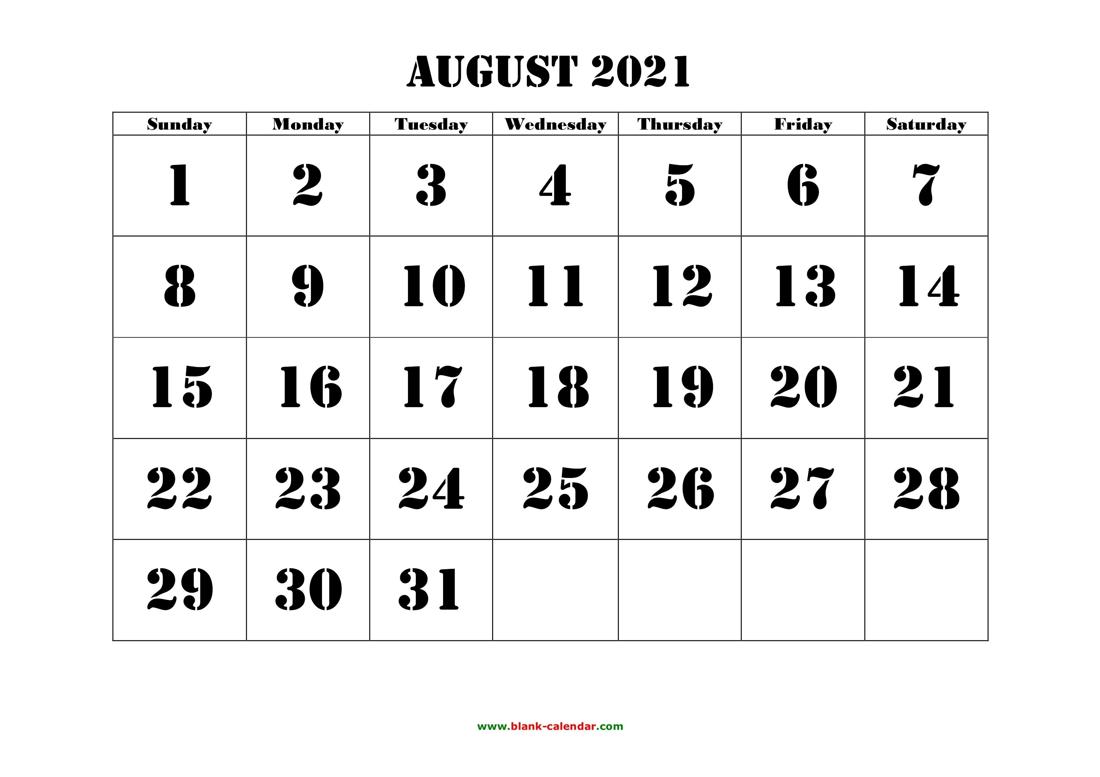 Free Download Printable August 2021 Calendar, Large Font August 2021 Calendar Print