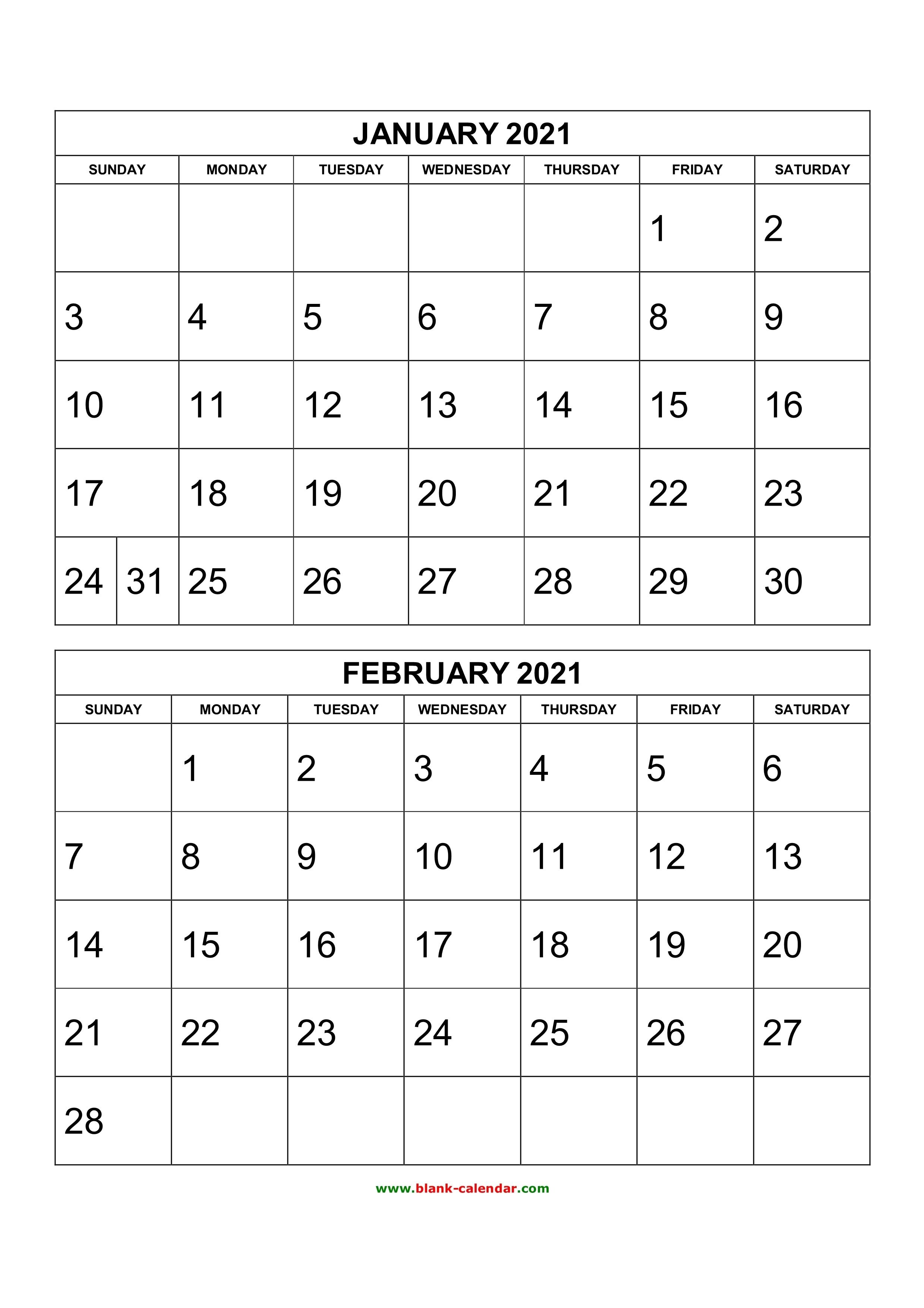 Free Download Printable Calendar 2021, 2 Months Per Page, 6 Free Printable 3 Month Calendar 2021