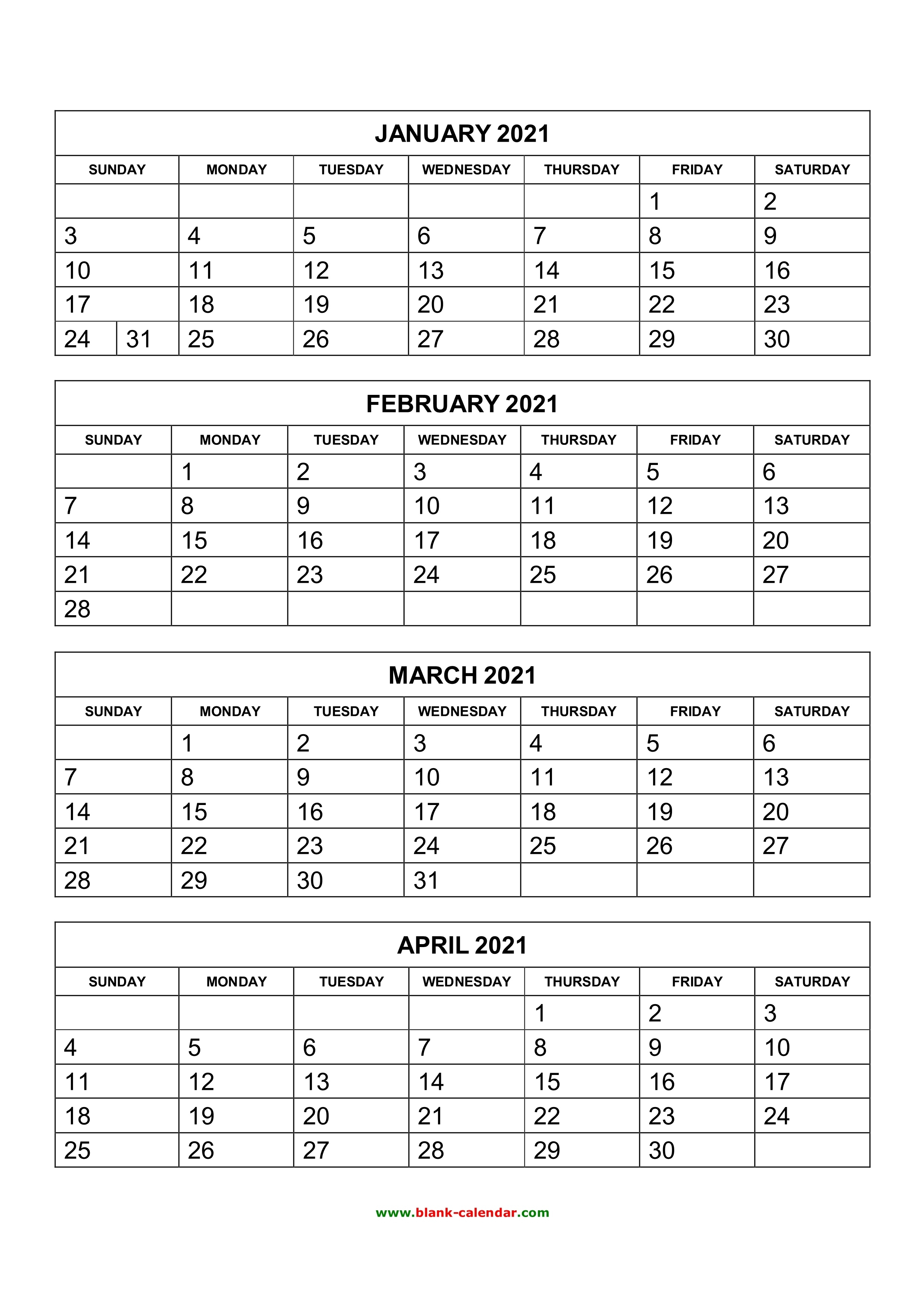 Free Download Printable Calendar 2021, 4 Months Per Page, 3 Printable 3 Months At A Time Calendar 2021