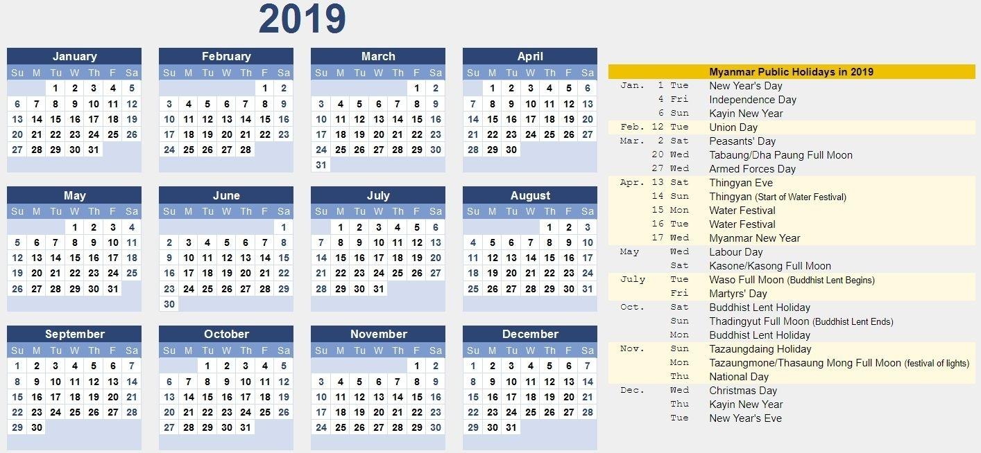 Free Myanmar Calendar 2019 Pdf, Excel, Word Template 2021 Myanmar Calendar Microsoft Office