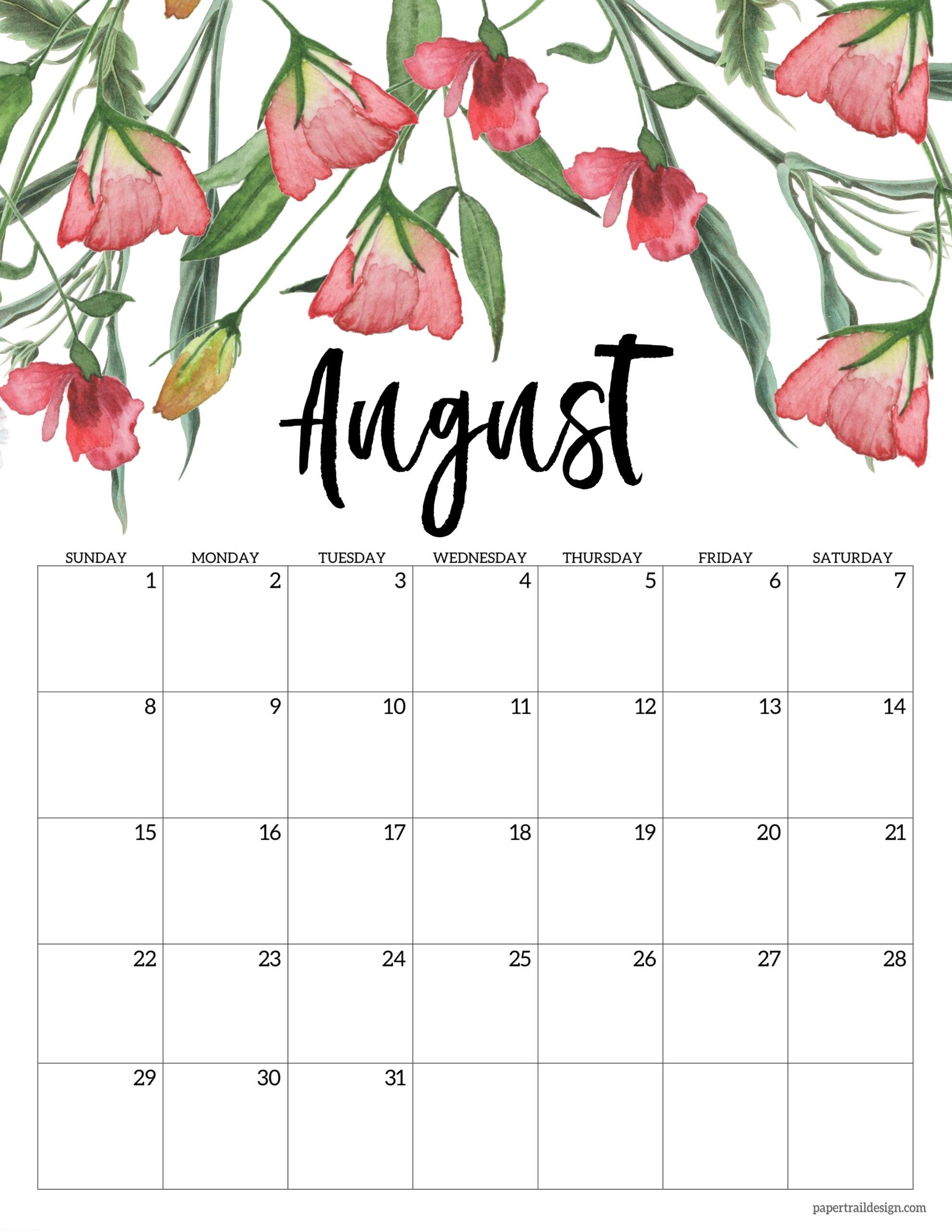 Free Printable 2021 Floral Calendar | Paper Trail Design August 2021 Calendar Print