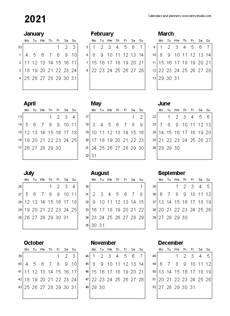 Free Printable Calendars And Planners 2021, 2022 And 2023 Print 2021 Broadcast Calendar
