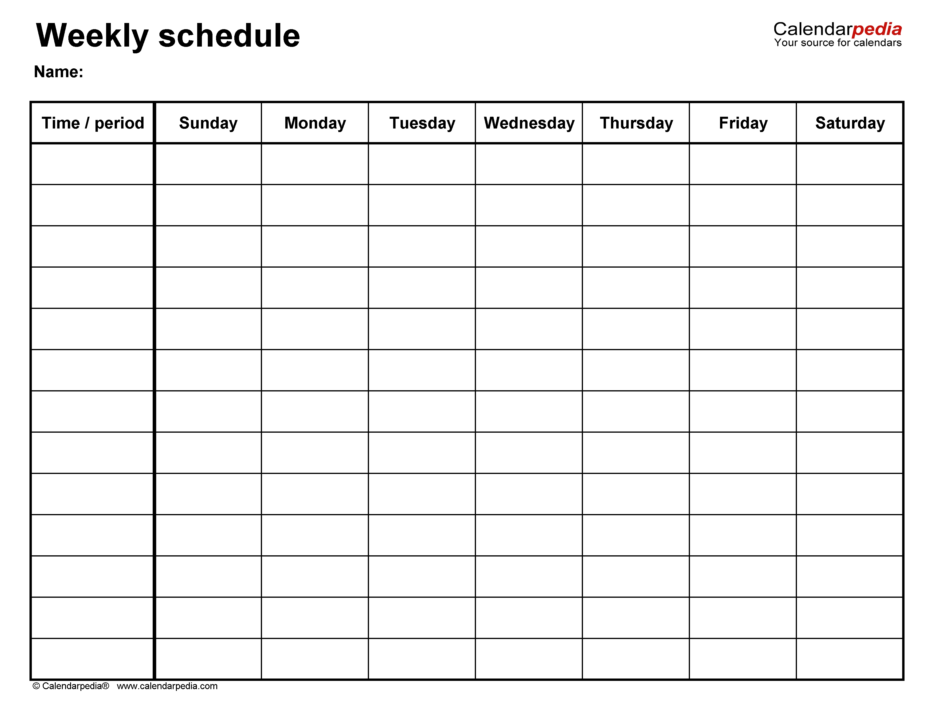 Free Weekly Schedule Templates For Excel - 18 Templates 7 Day Week Calendar Template