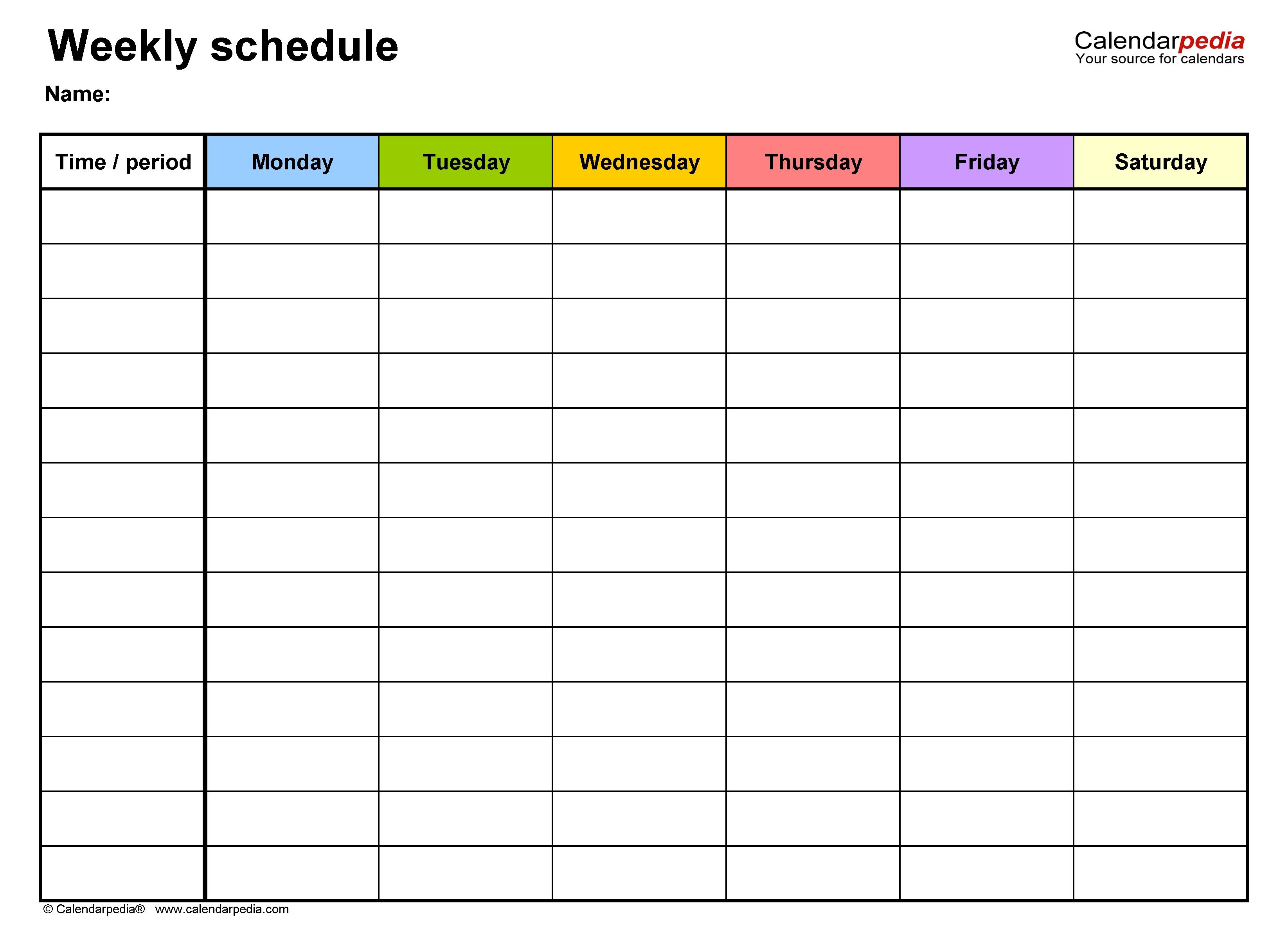 Free Weekly Schedule Templates For Excel - 18 Templates Calendar Template Excel Free