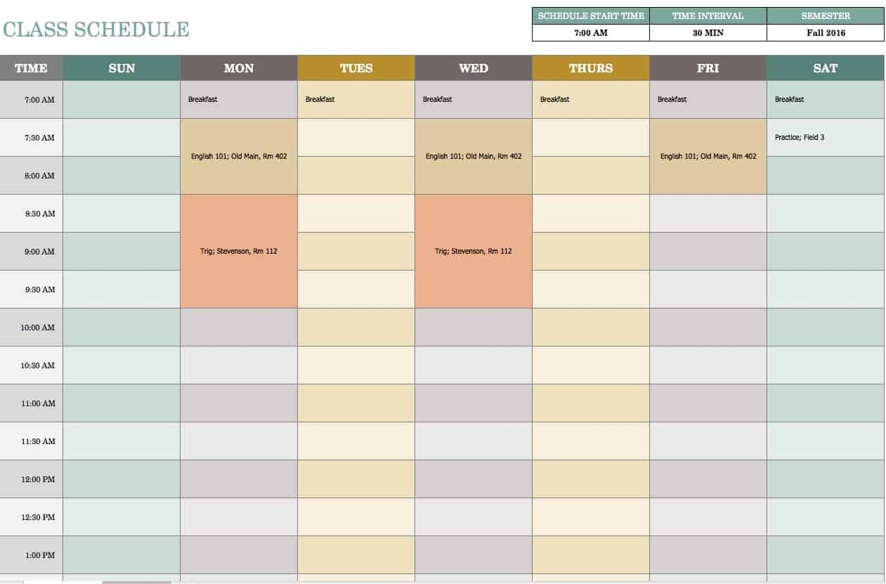 Free Weekly Schedule Templates For Excel - Smartsheet Calendar Template Excel Free
