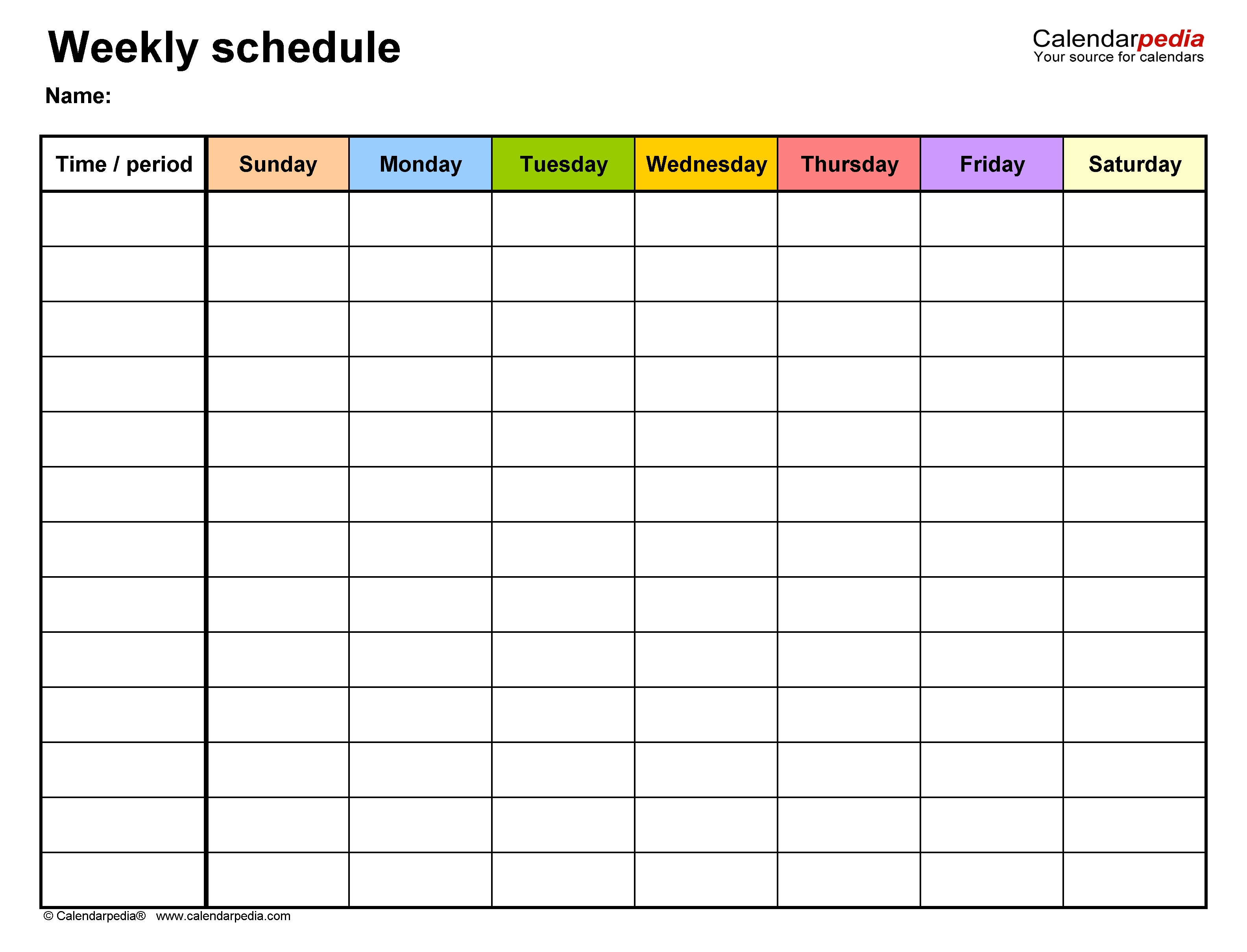 Free Weekly Schedule Templates For Word - 18 Templates 7 Day Calendar Template