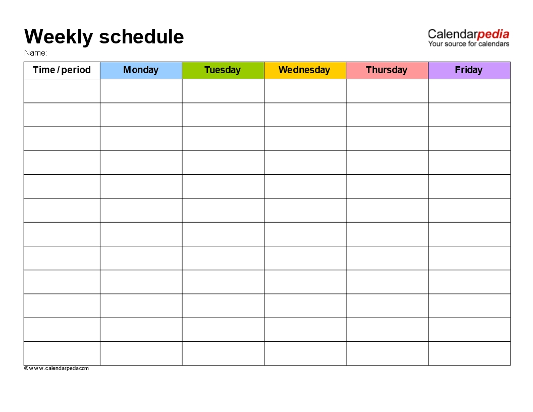 Free Weekly School Schedule Template | Templates At Free Calendar Weekly Template