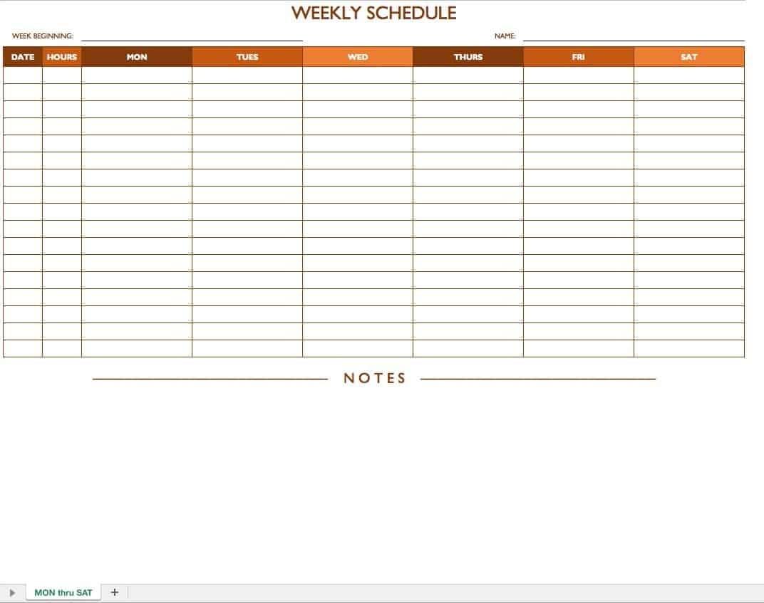 Free Work Schedule Templates For Word And Excel  Smartsheet Calendar Template Work Week