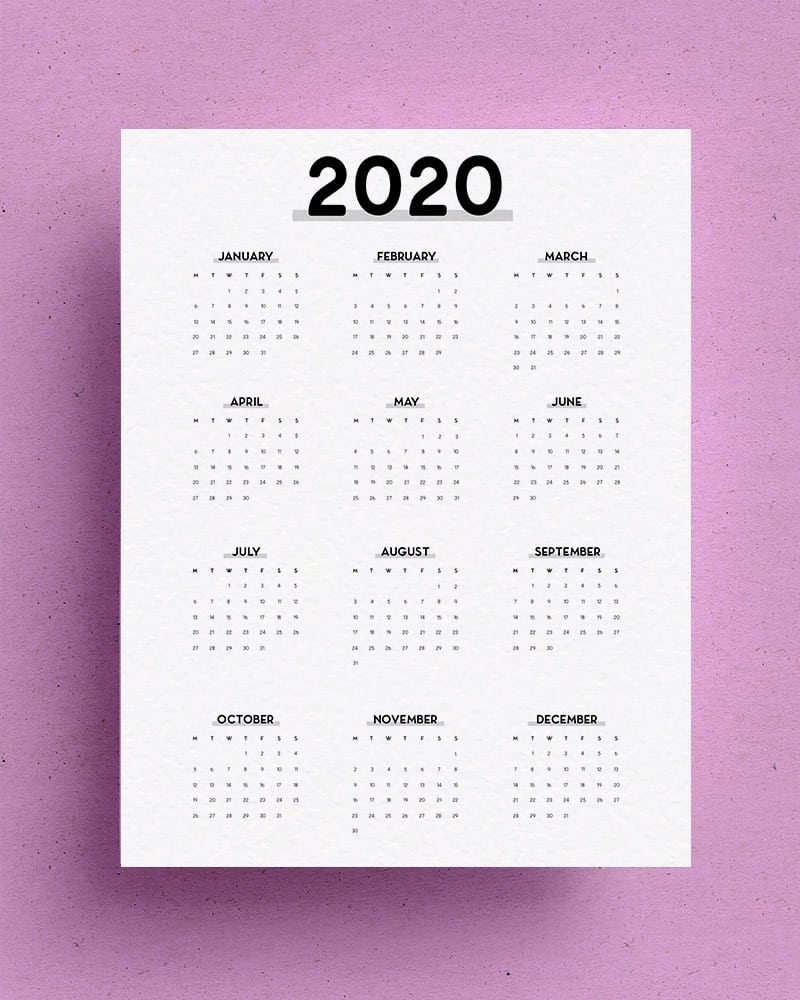 Free Yearly Overview Printable For 2020 - Crazy Laura Calendar Template Year At A Glance