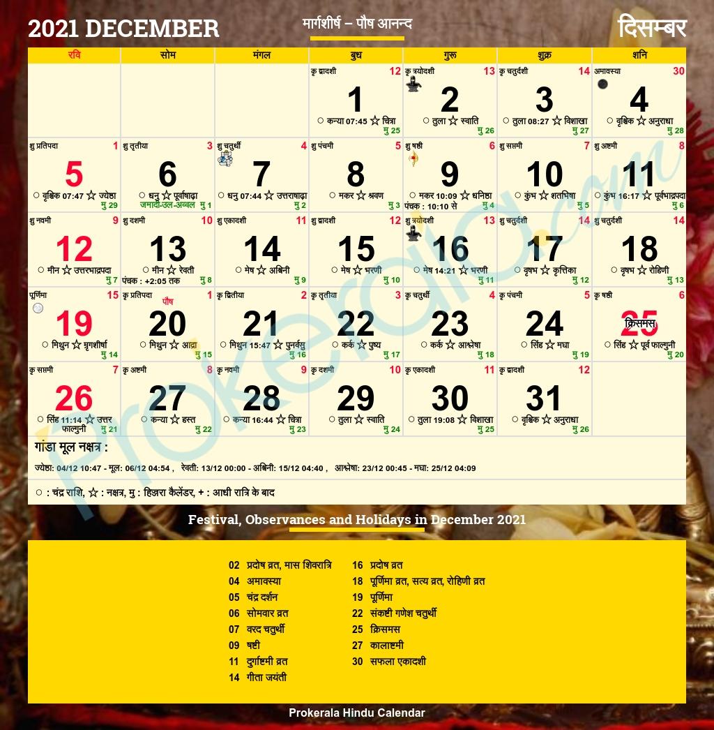 Hindu Calendar 2021, December Calendar 2021 August Kannada