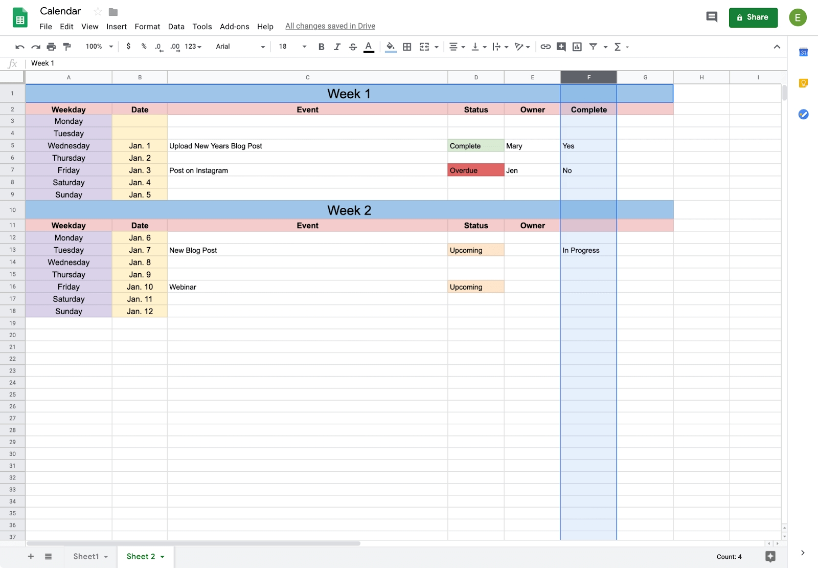 How To Create A Calendar In Google Docs | Copper Content Calendar Template Google Docs