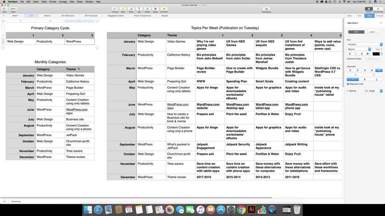 How To Create A Content Calendar Spreadsheet In Numbers Calendar Template Mac 10.14