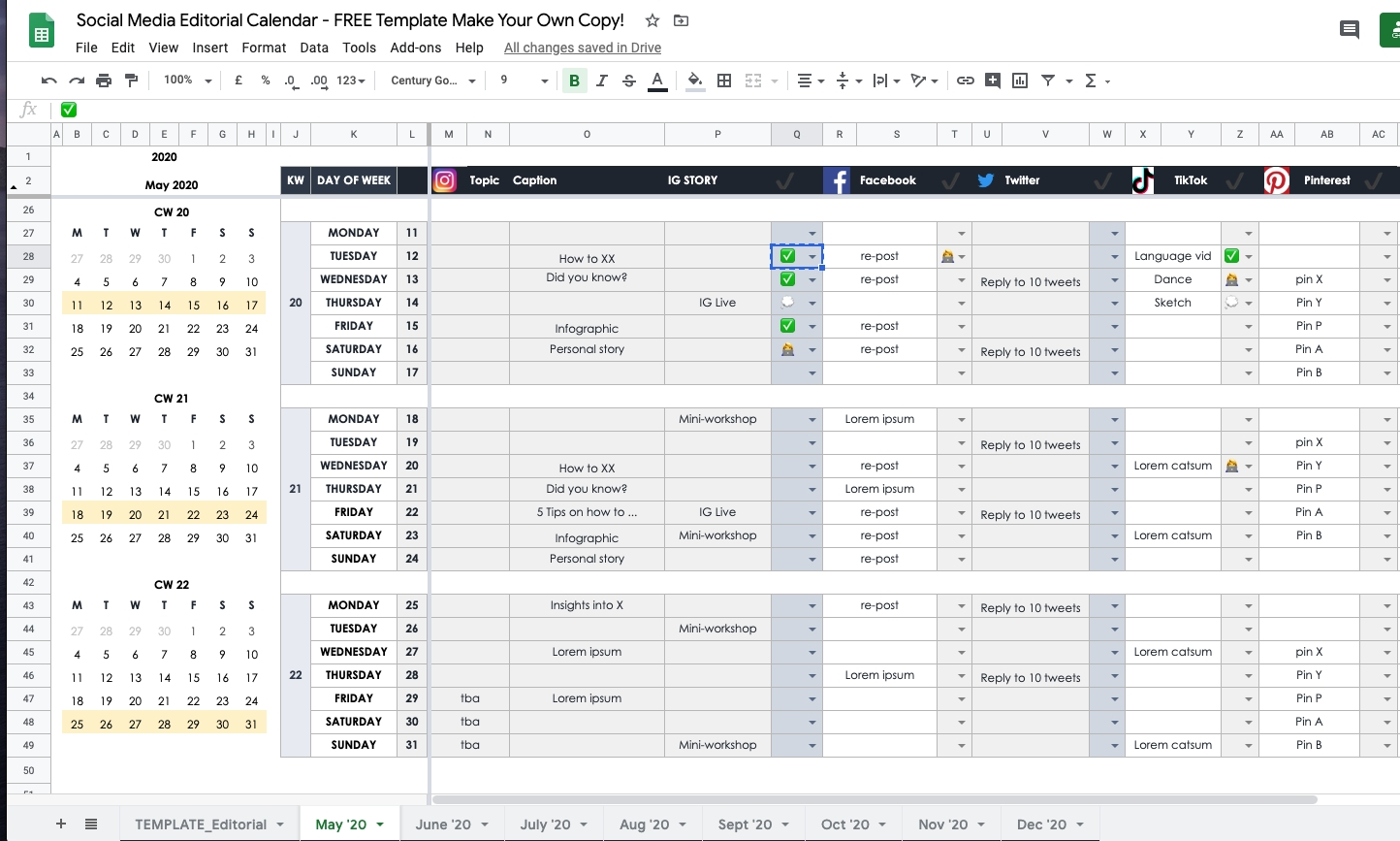 How To Plan Your Social Media In 2020 As An Individual Or Content Calendar Template Google Docs