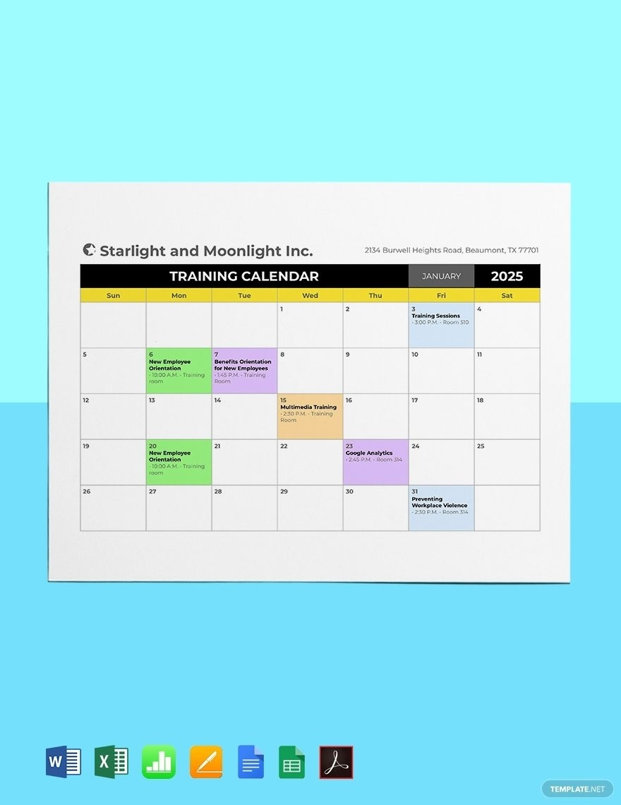 Hr Training Calendar Template - Pdf | Word | Excel | Google Calendar Template In Word For Mac