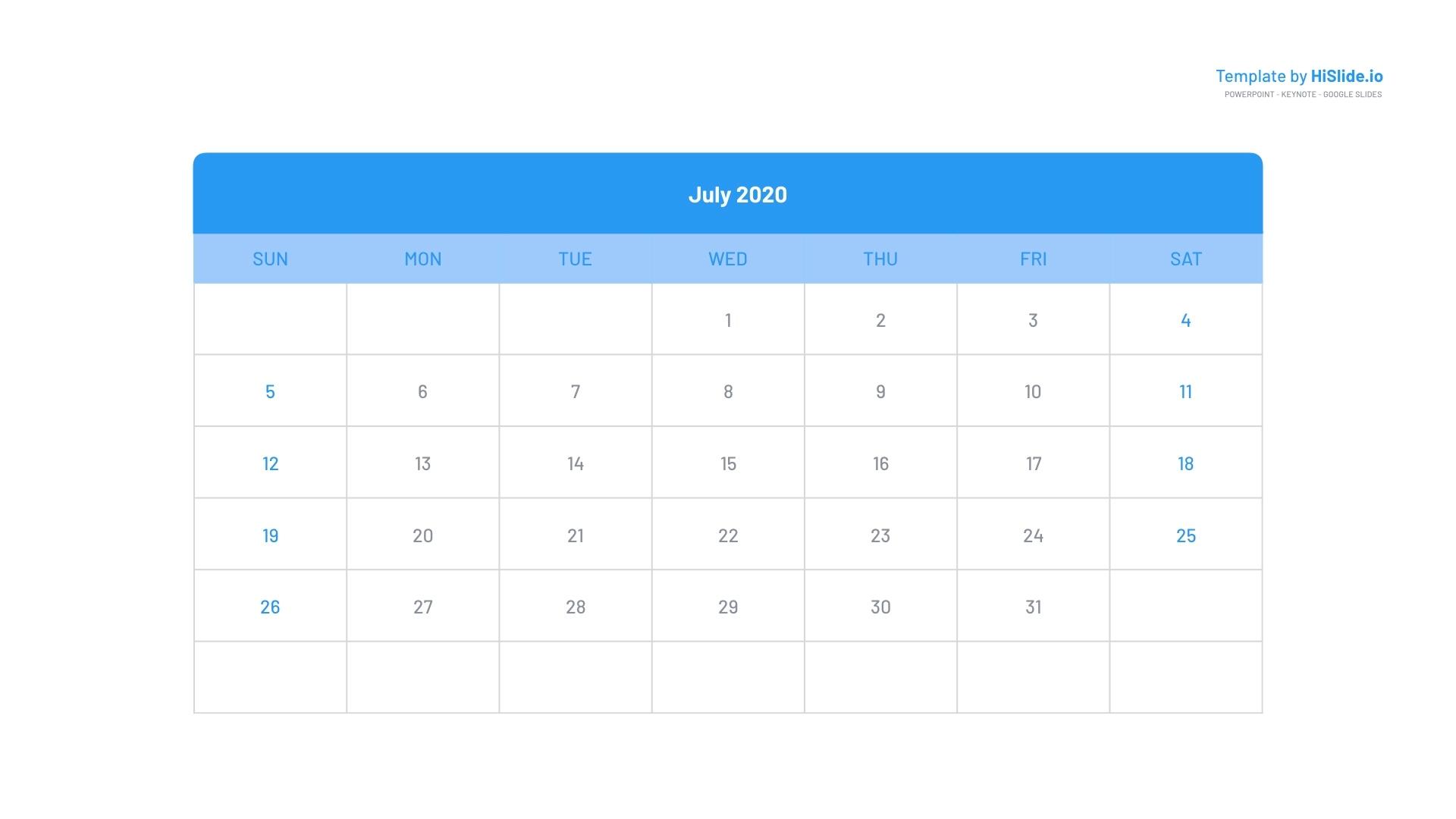 July 2020 Keynote Free Calendar Template Free Keynote Calendar Template