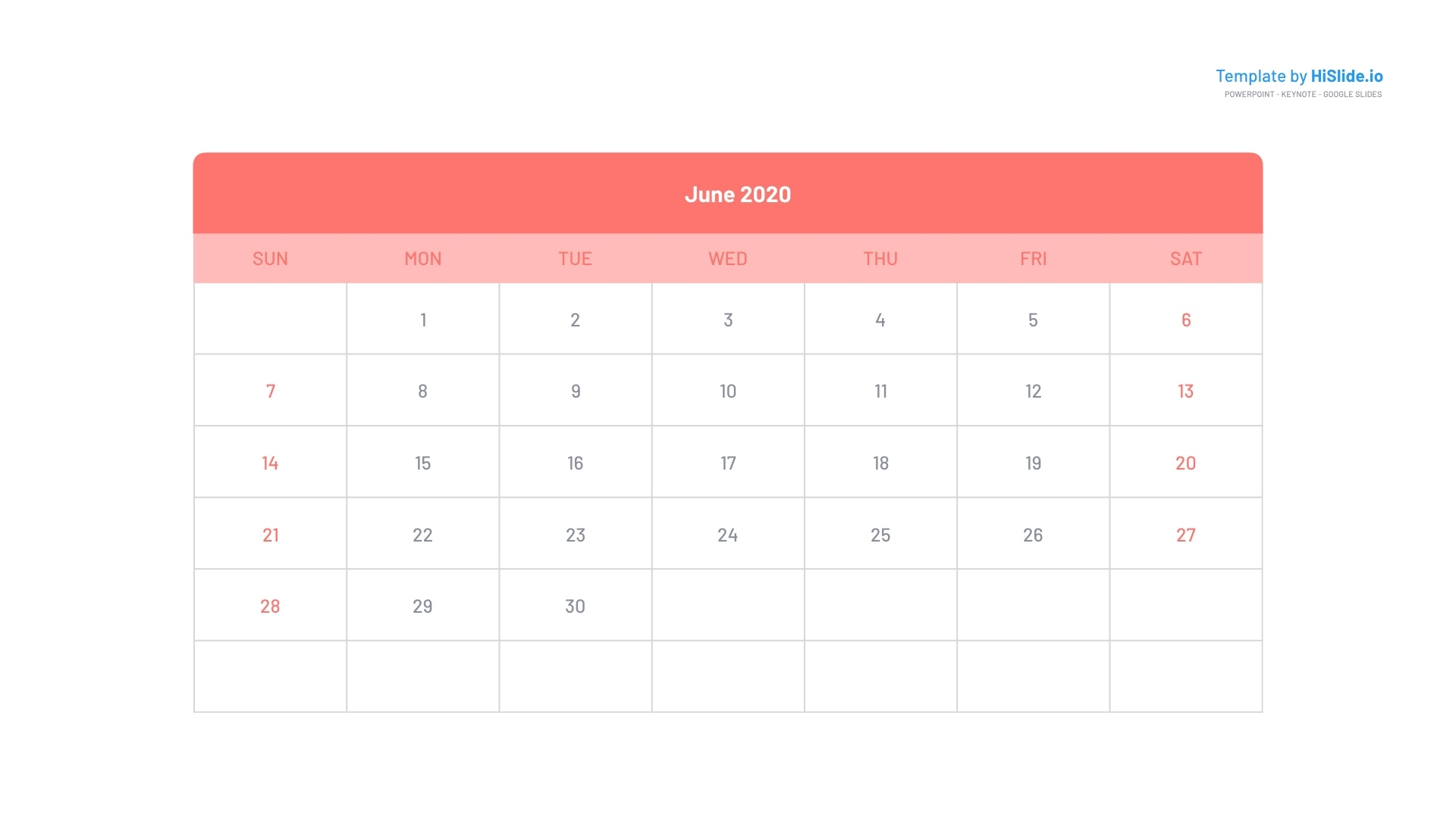 June 2020 Calendar For Keynote Free Free Keynote Calendar Template