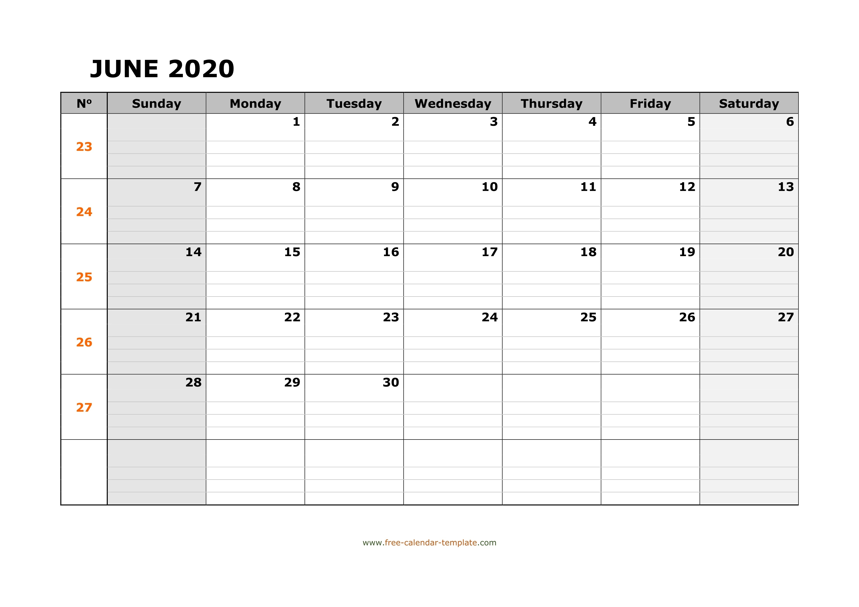 June 2020 Calendar Free Printable With Grid Lines Designed Free Calendar Grid Template