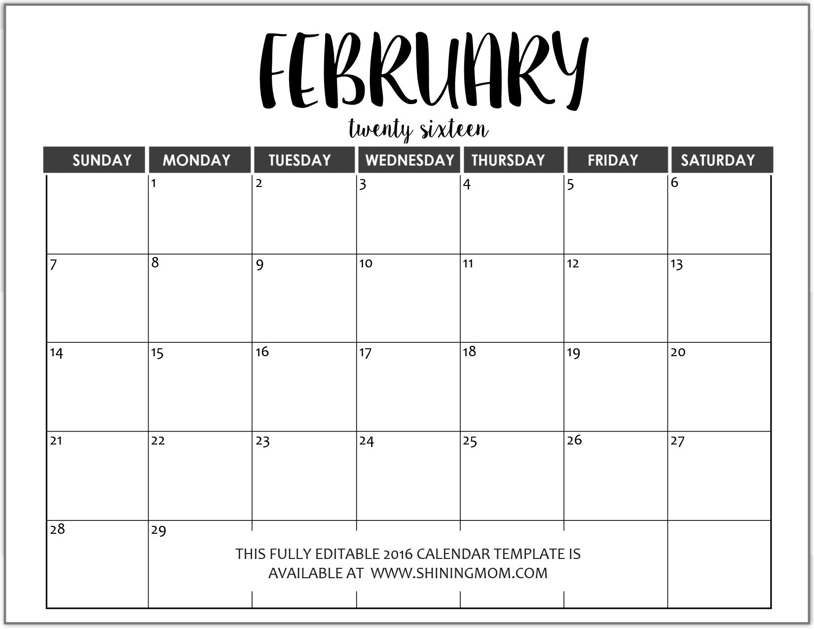 Just In: Fully Editable 2016 Calendar Templates In Ms Word Calendar Template Microsoft Word