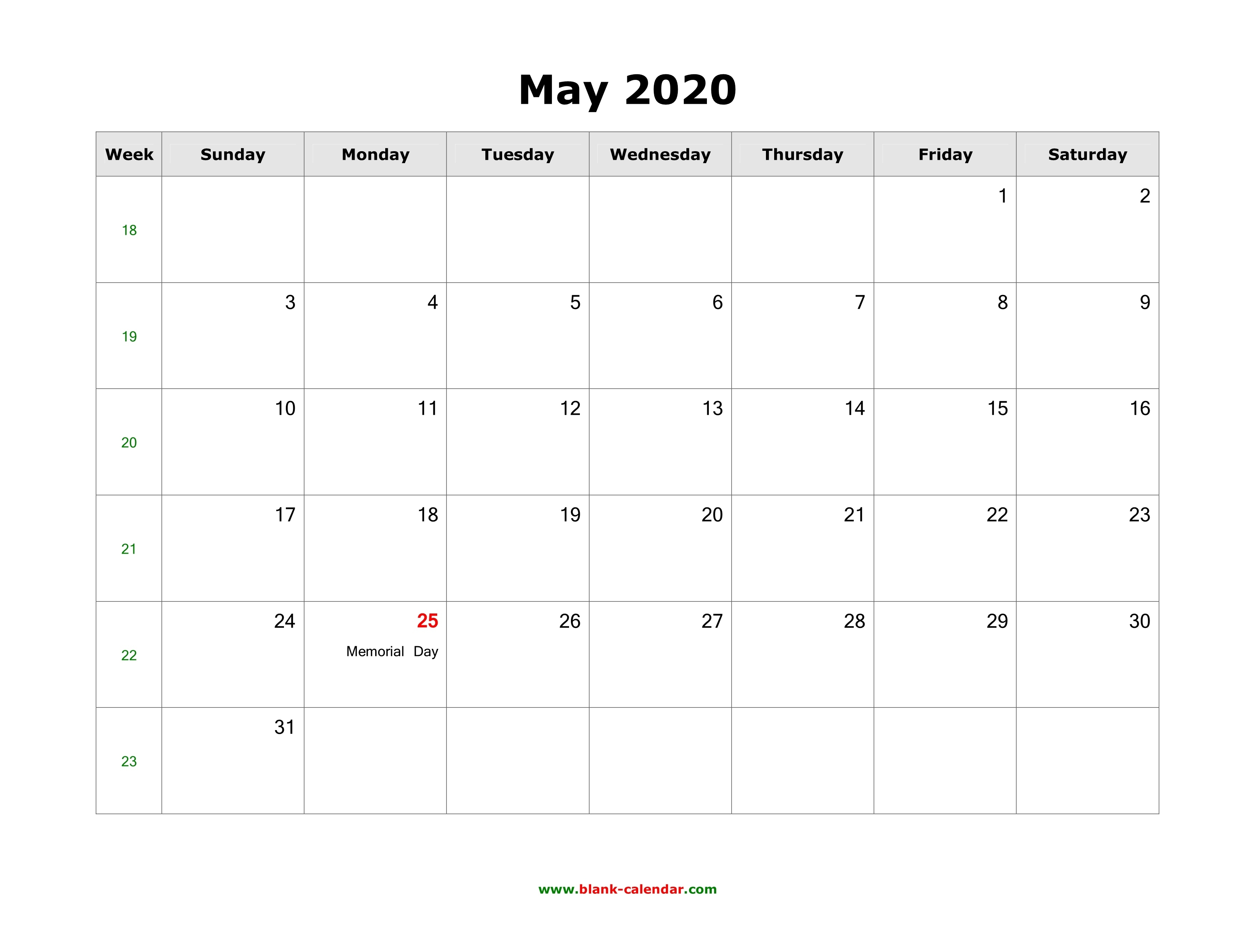 May 2020 Blank Calendar | Free Download Calendar Templates Calendar Template That Can Be Edited