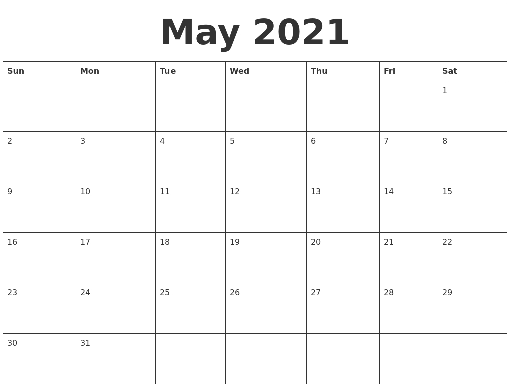May 2021 Printable Calendar Pages Calendar Template In Pages