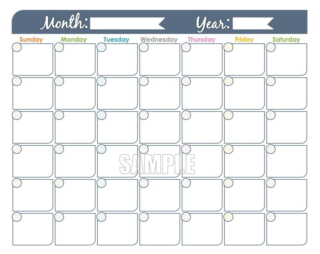 Monthly Calendar Printable Undated Fillable Family | Etsy 3-Ring Binder Calendar Template