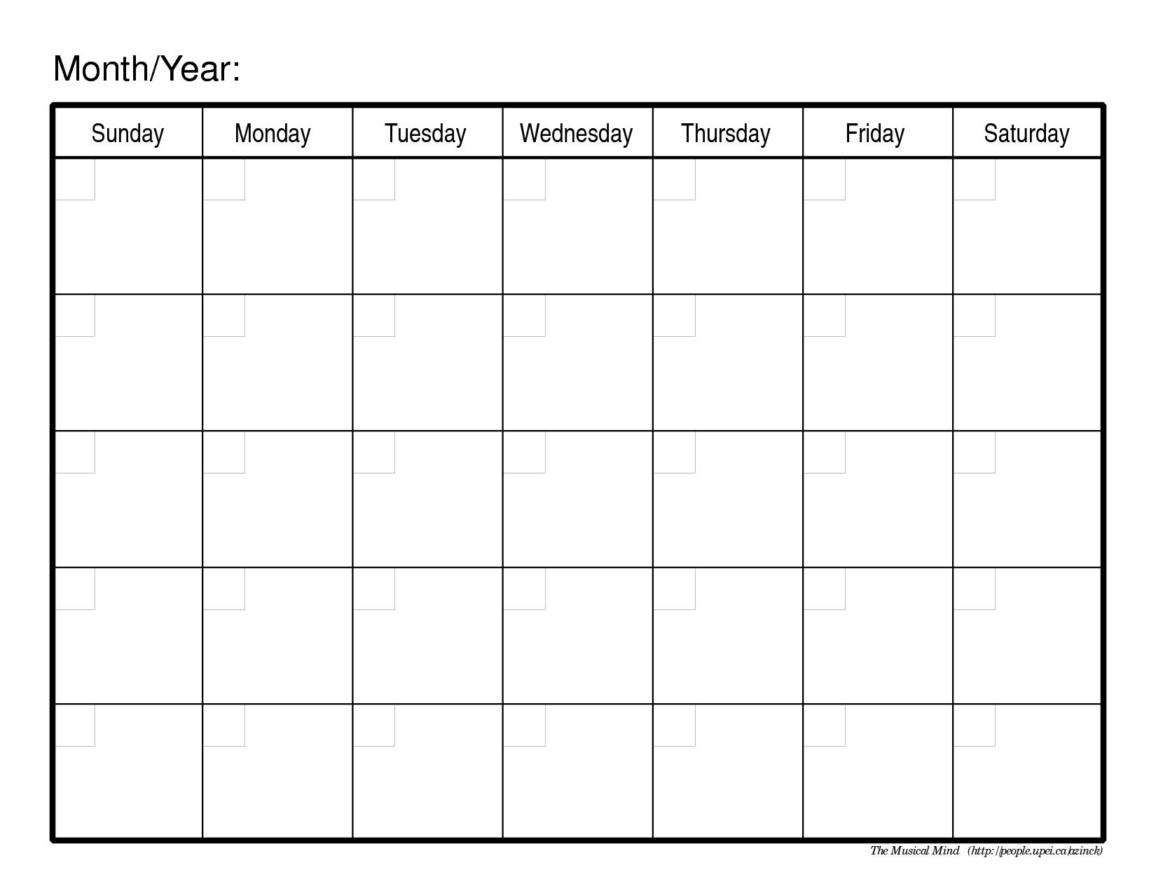 Monthly Calendar Template   Blank Calendar Pages, Free Calendar Template In Pages