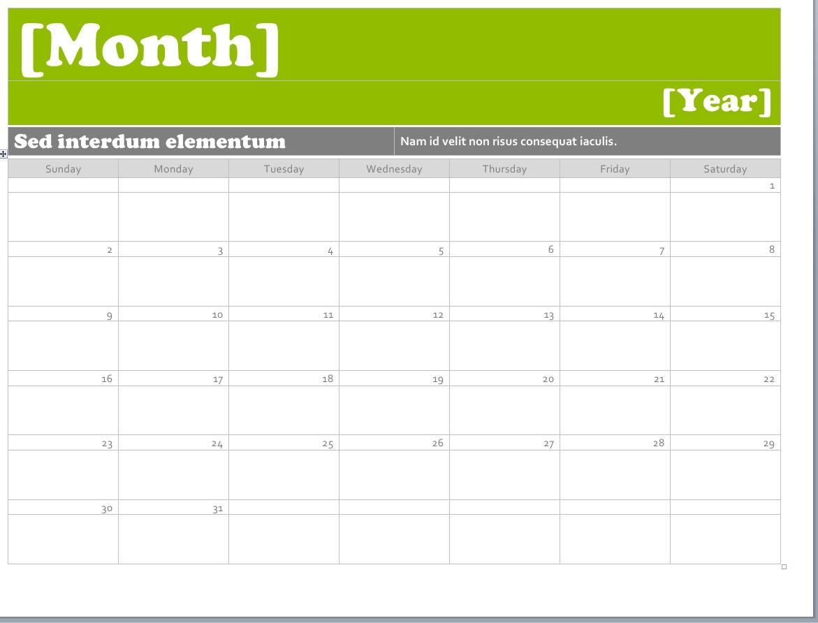 Ms Word Calendar Templates • Printable Calendar Template Calendar Template Microsoft Word