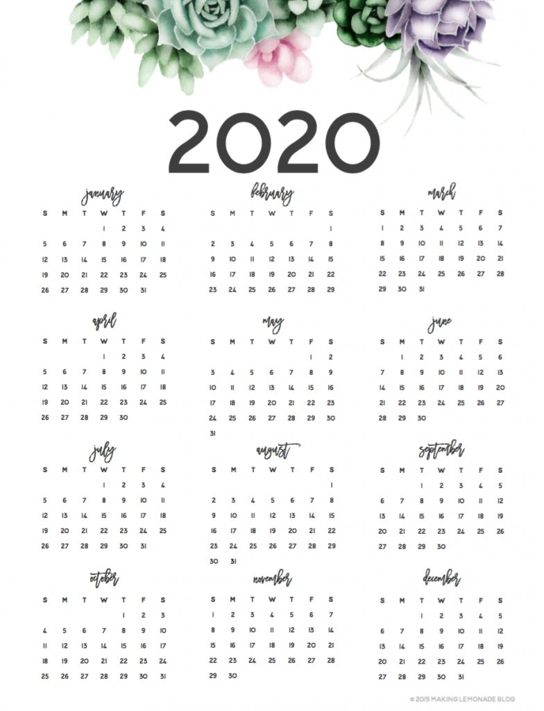 Musings Of An Average Mom: 2020 Year At A Glance Calendars Calendar Template Year At A Glance