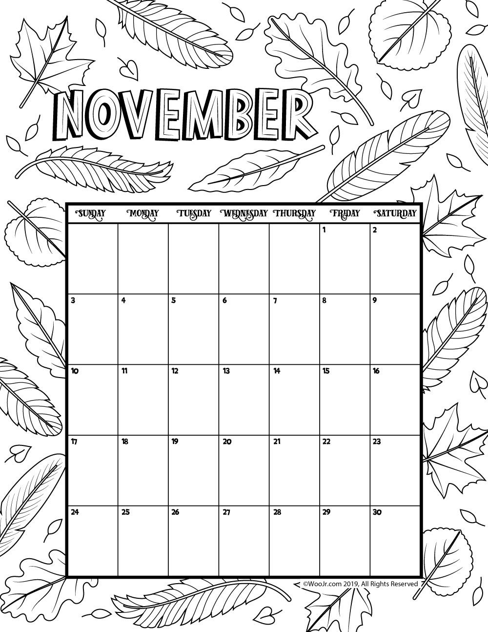 November 2019 Coloring Calendar | Woo! Jr. Kids Activities November Calendar Template Kindergarten