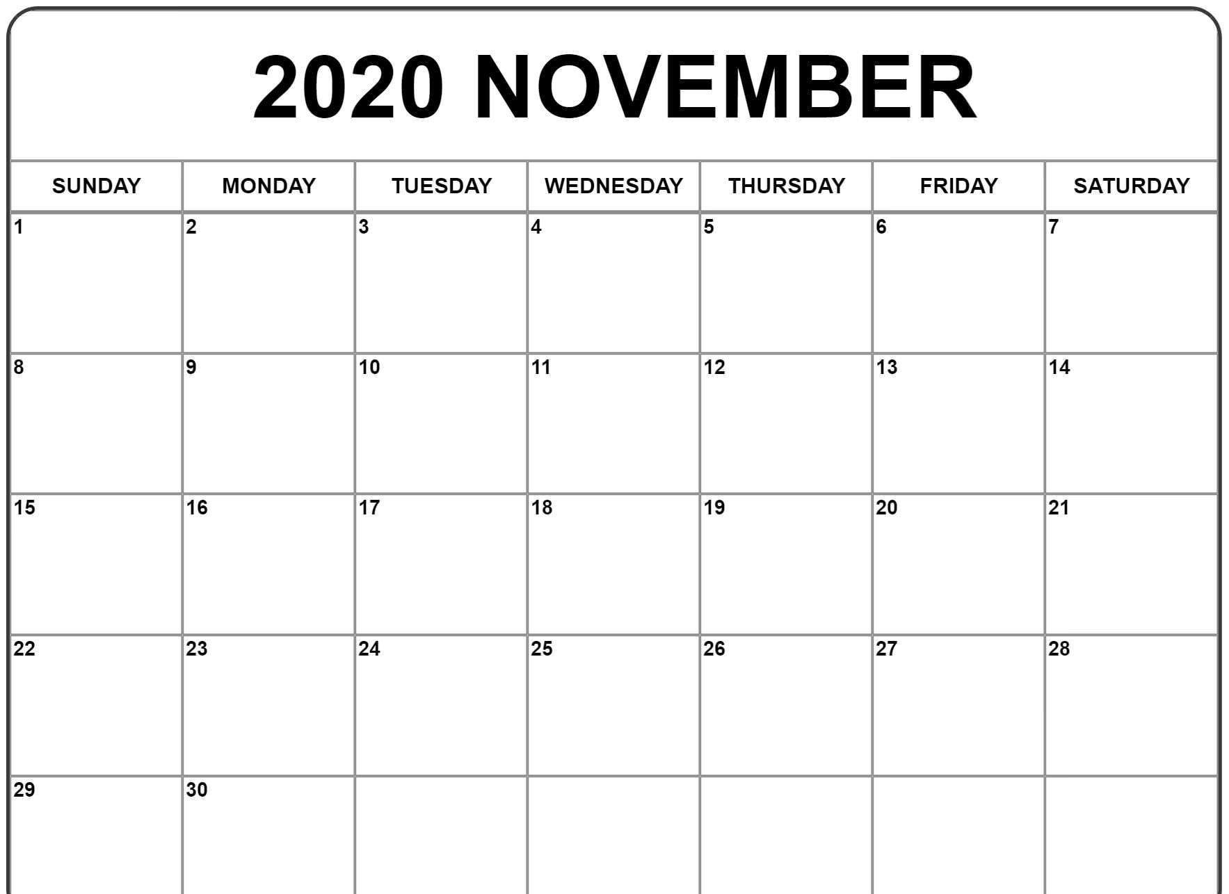 November 2020 Calendar In 2020 | Editable Calendar, Calendar November Calendar Template Kindergarten