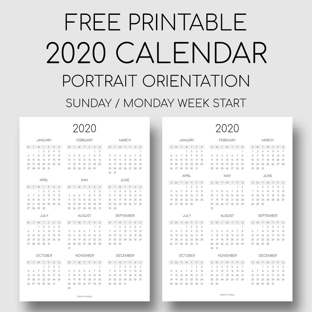Printable 2020 Year At A Glance Calendar - Portrait Orientation Calendar Template Year At A Glance