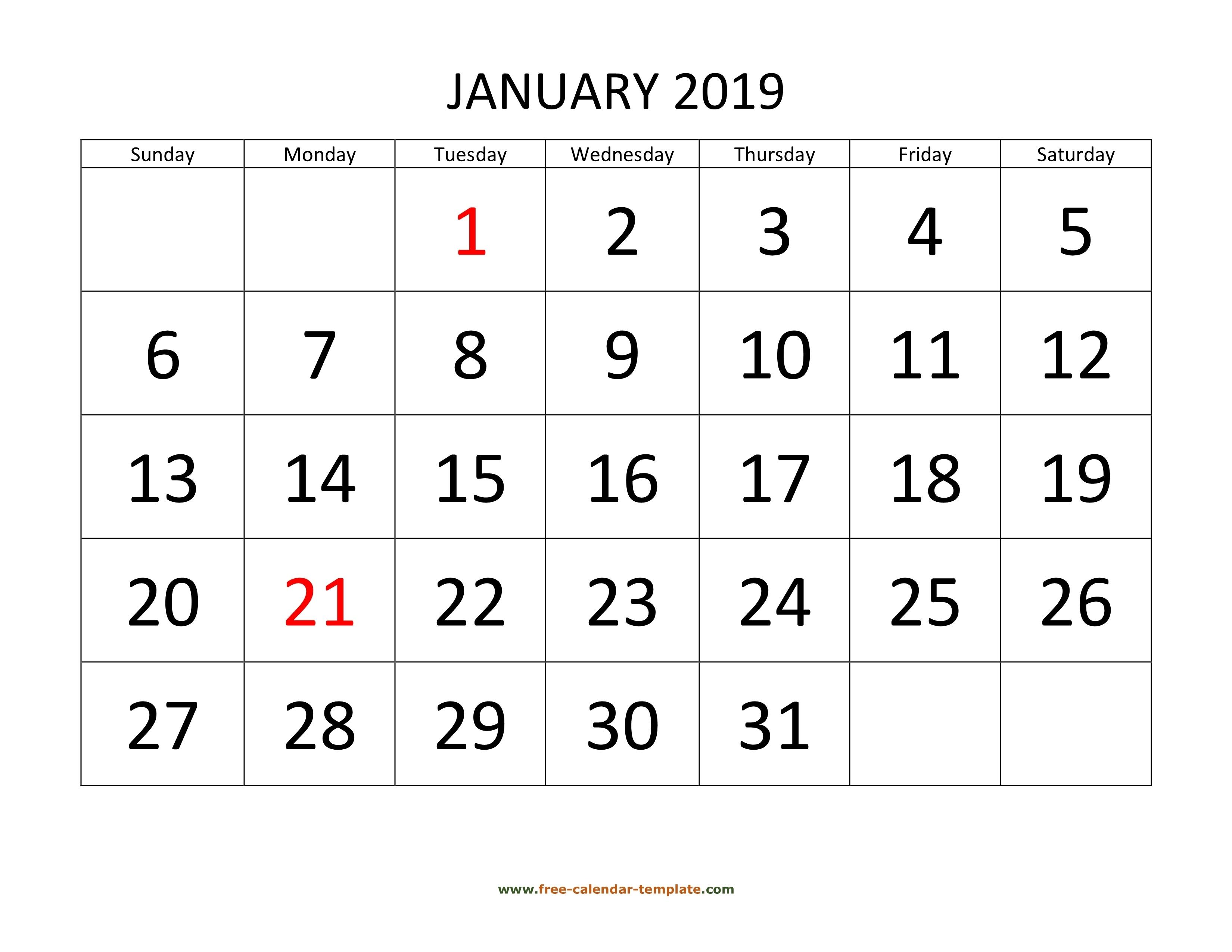 Printable Monthly Calendar 2019 | Free-Calendar-Template Free Calendar Grid Template