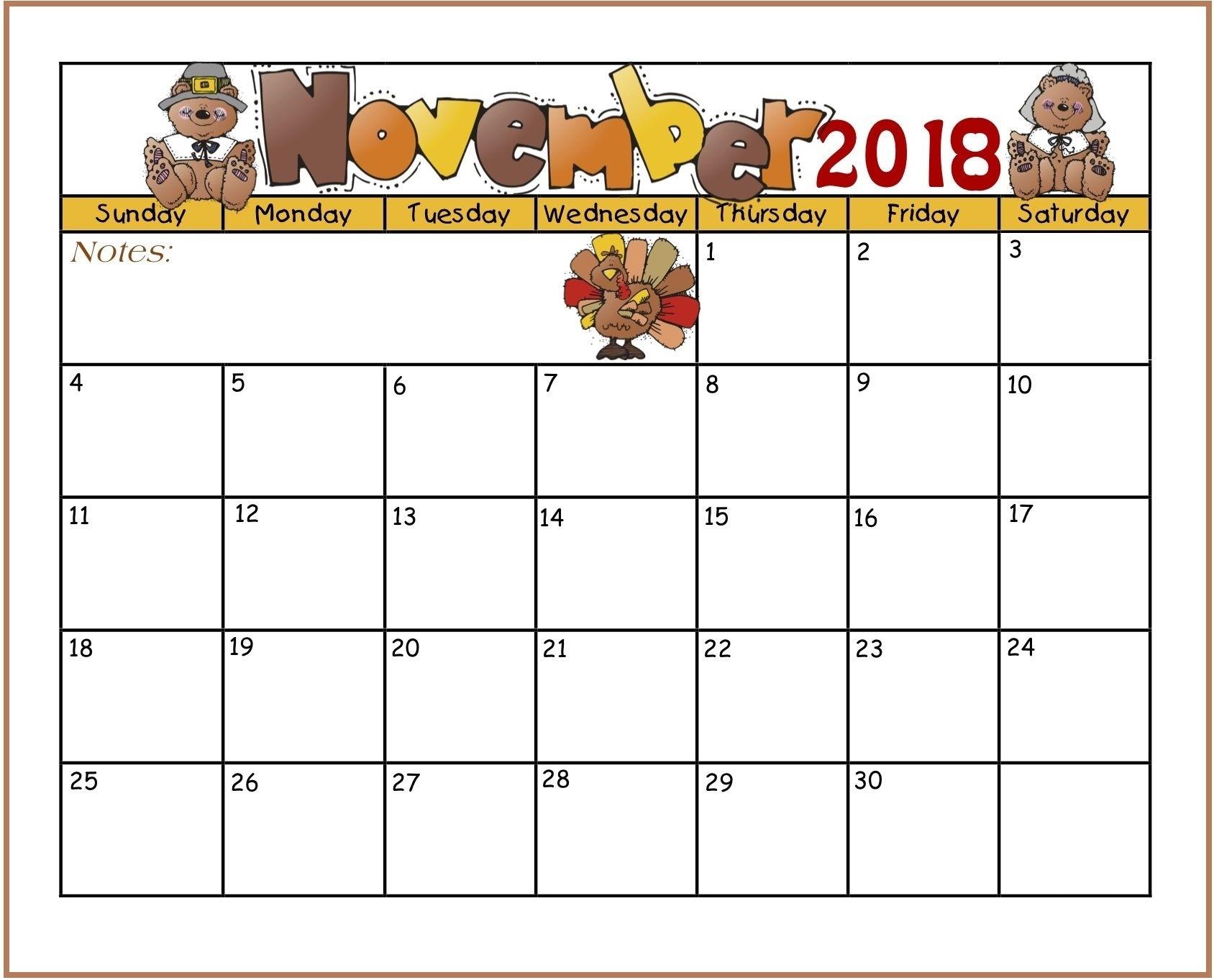 Printable November 2018 Calendar For Kids | Kids Calendar November Calendar Template Kindergarten