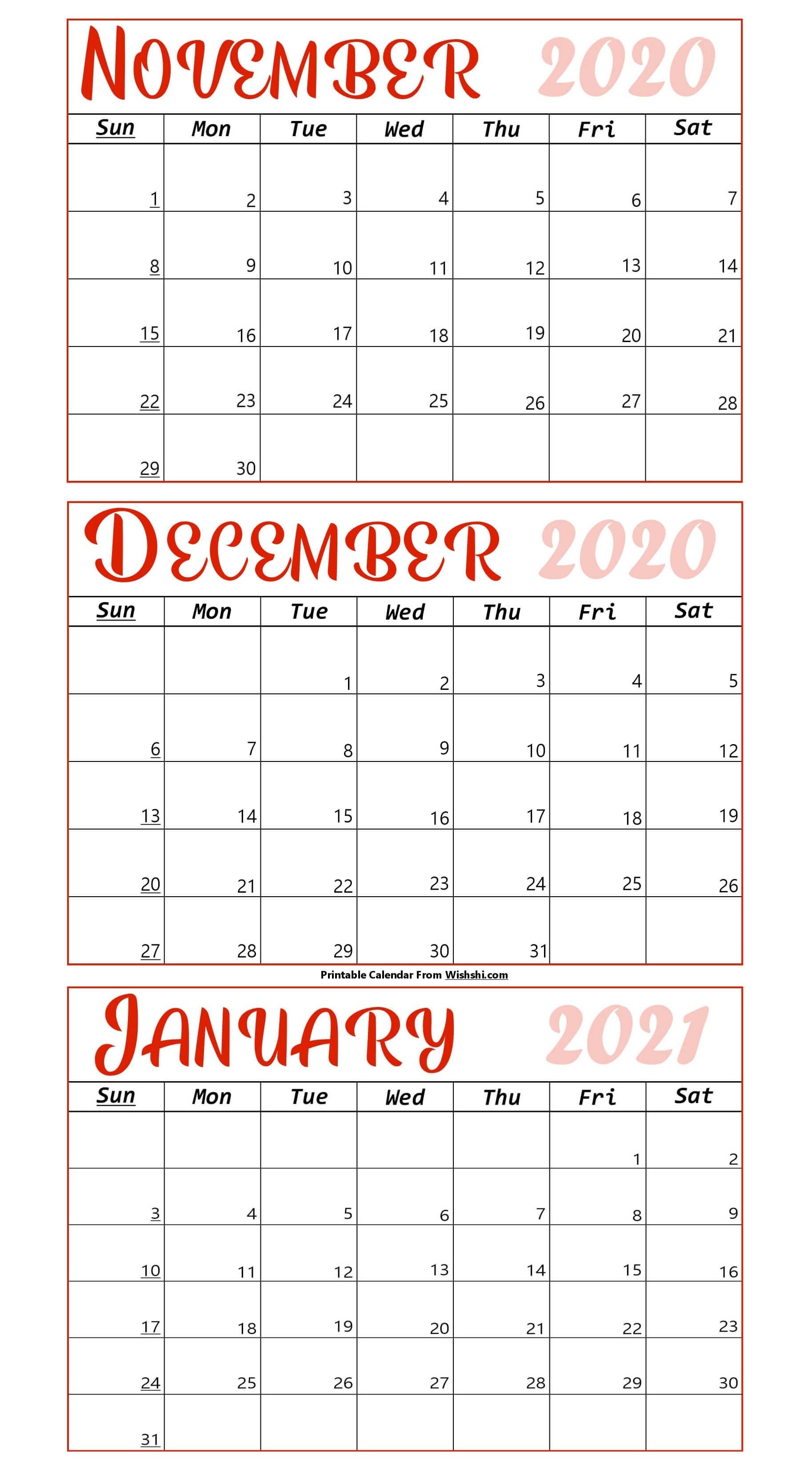 Printable November 2020 To January 2021 Calendar - Free Last 3 Month Of 2021 Calendar