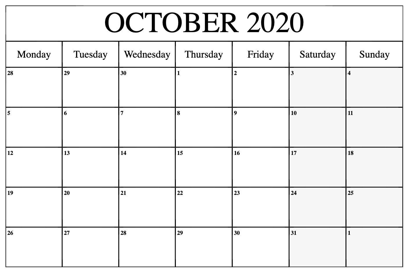 Printable October 2020 Calendar Template - Download Now Calendar Template That Can Be Edited