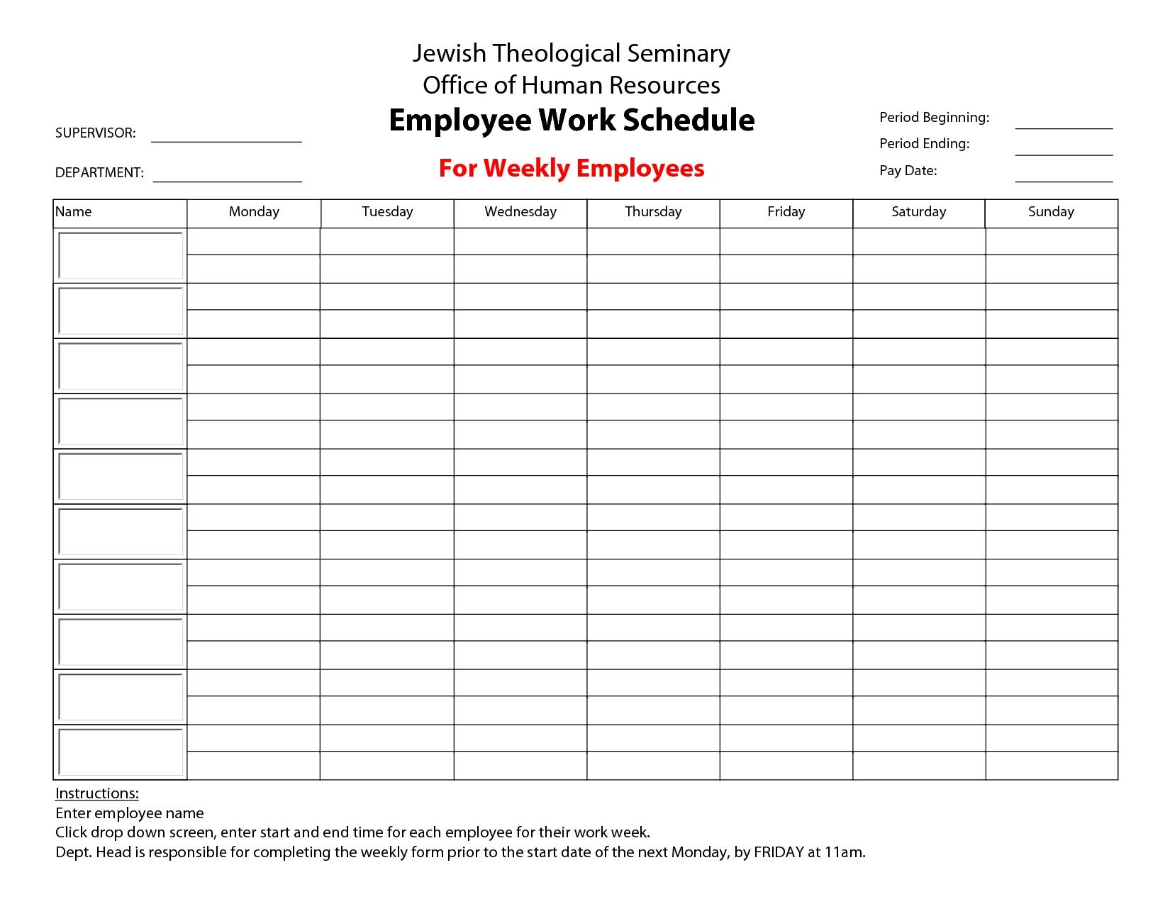 Printable+Employee+Work+Schedule+Template   Monthly Schedule Calendar Template Work Week