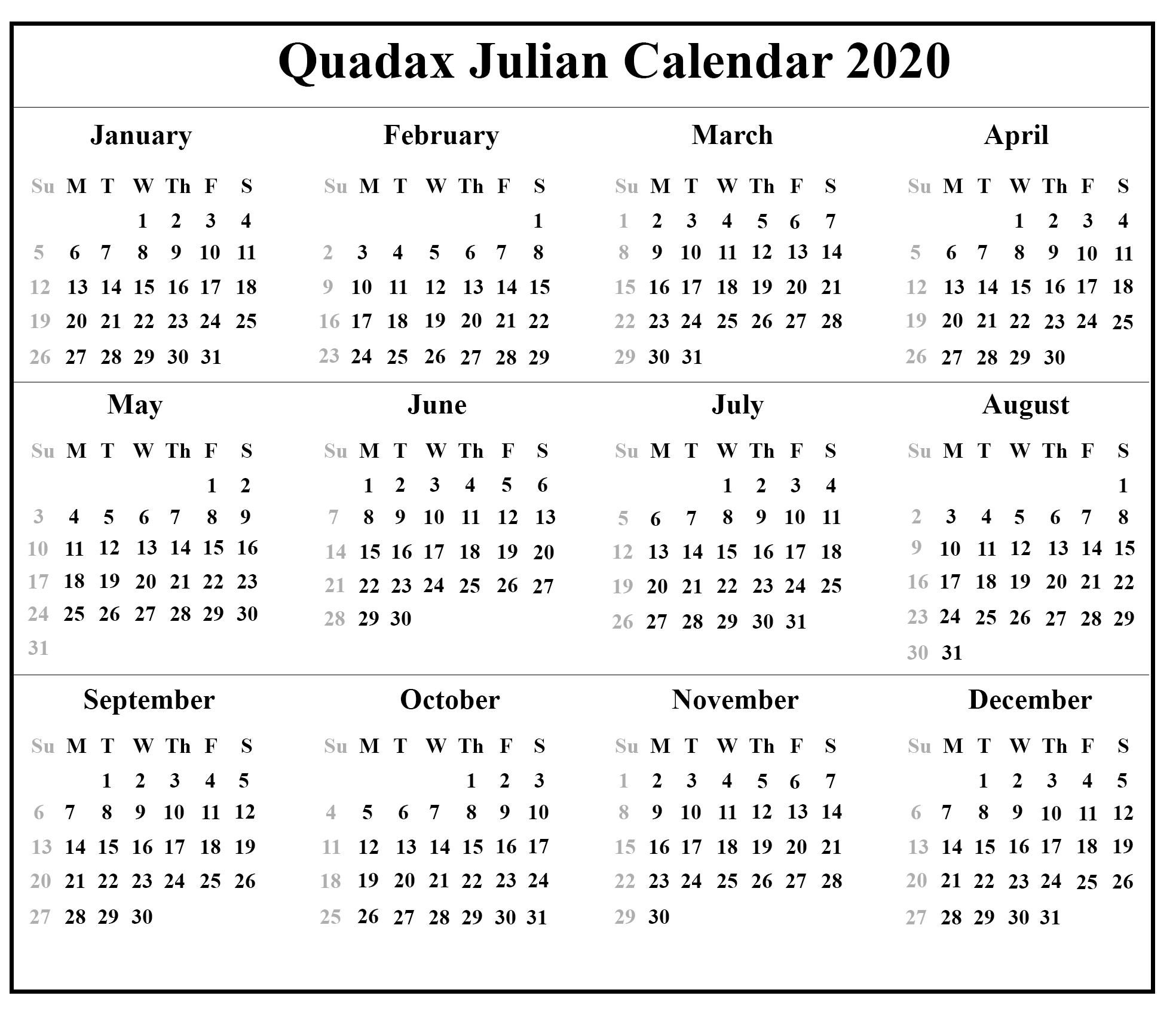 Quadax 2020 Julian Calendar | Calendar For Planning Quadax 2021 Julian Calendar