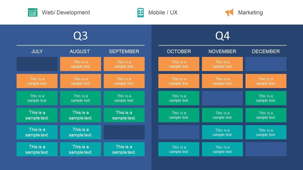 Quarter Roadmap Plan Powerpoint Template Quarterly Calendar Template Powerpoint