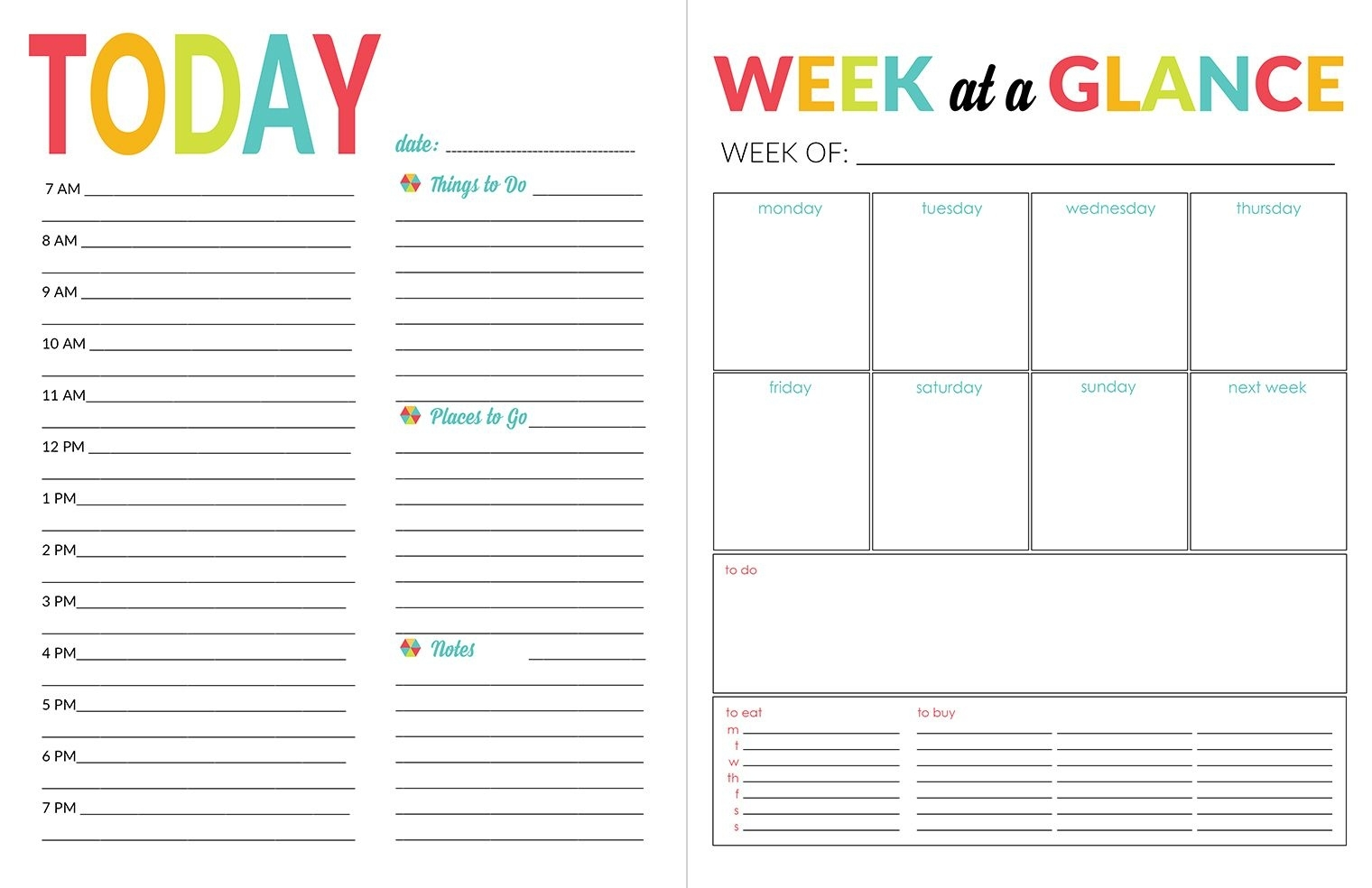 School Year Organizer & Planner Printable Pack Calendar Template Daily Planner