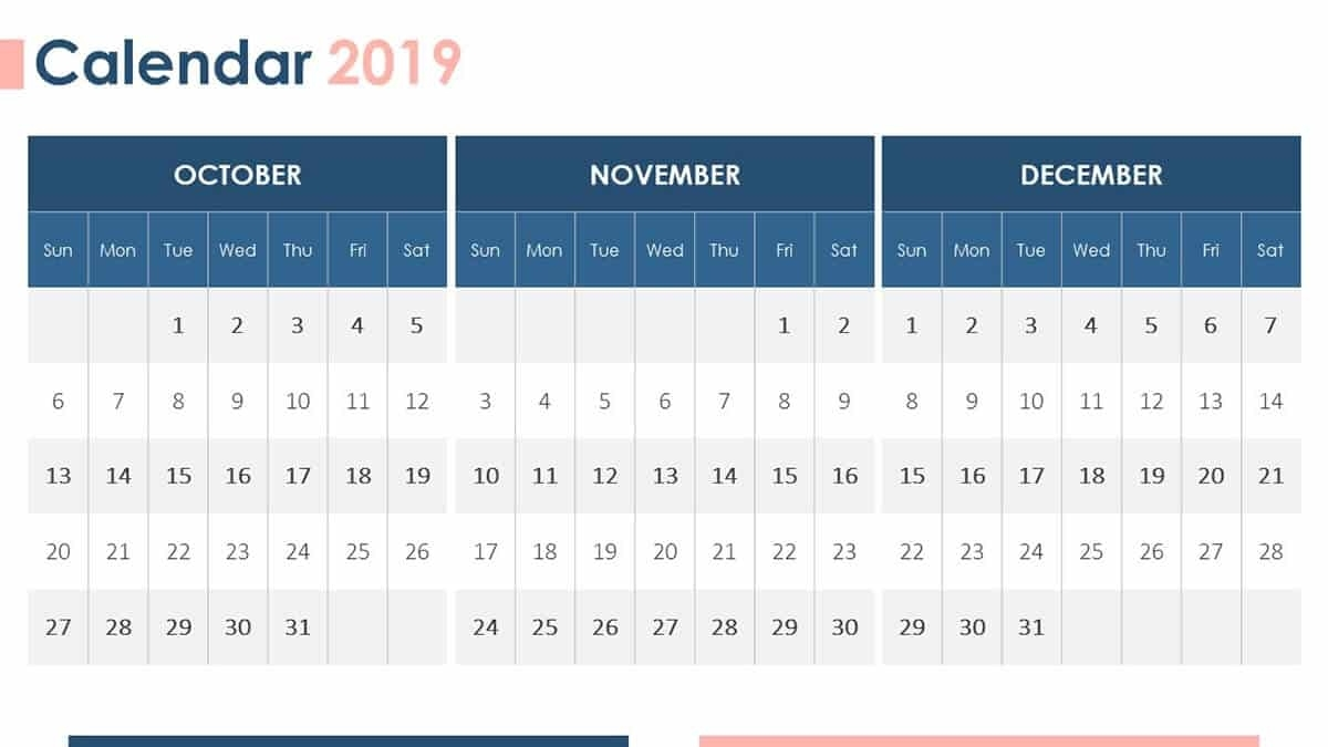 The 14 Best Free Powerpoint Templates For January 2019 Quarterly Calendar Template Powerpoint