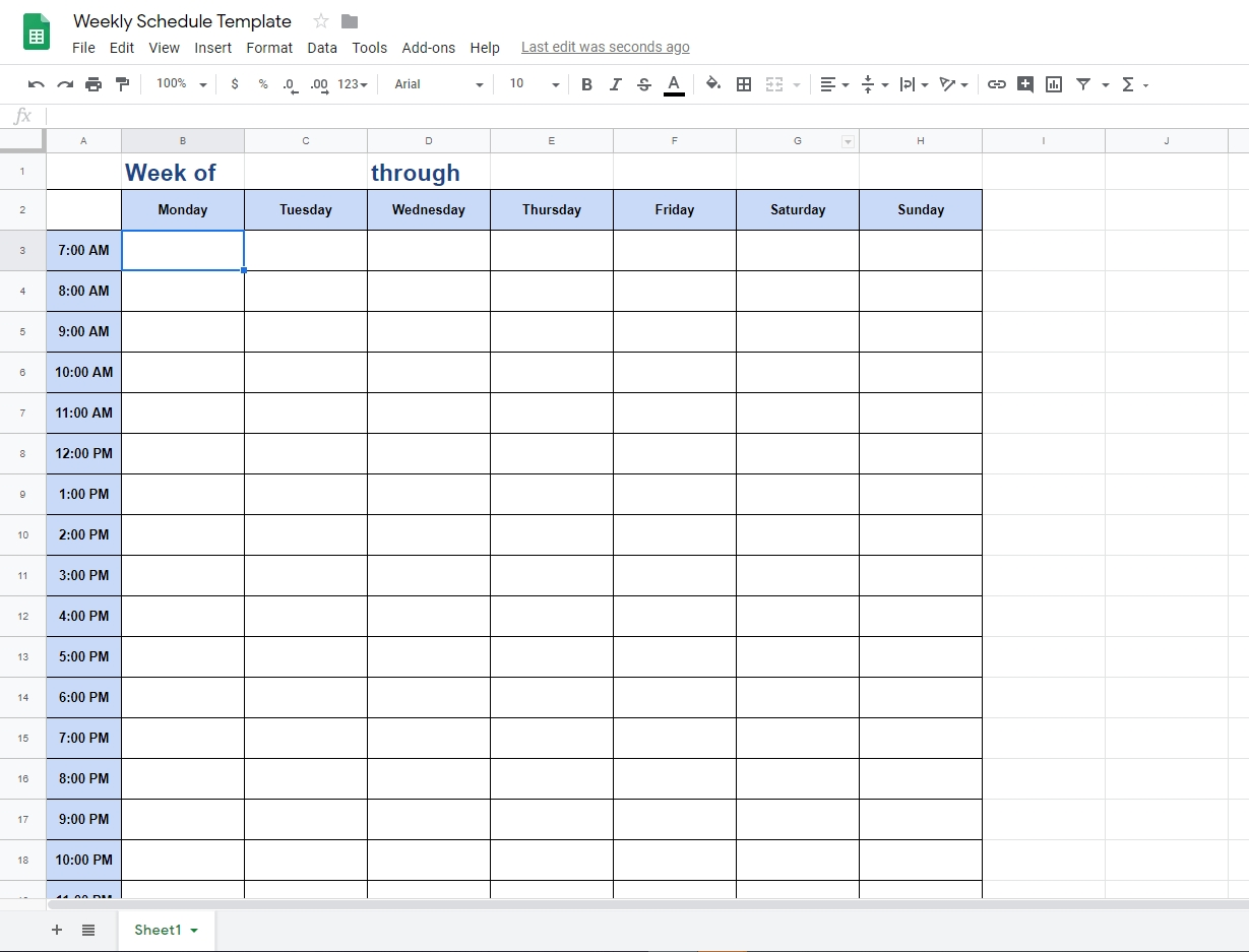 The Best Weekly Schedule Templates. Organize Your Time Calendar Template In Google Docs