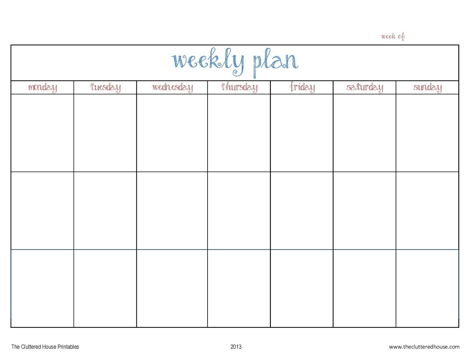 The Cluttered House: Weekly Planner Printable 3 Week Calendar Template