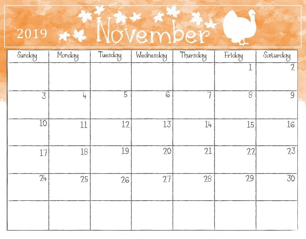 Watercolor November 2019 Calendar | Free Printable Calendar November Calendar Template Kindergarten